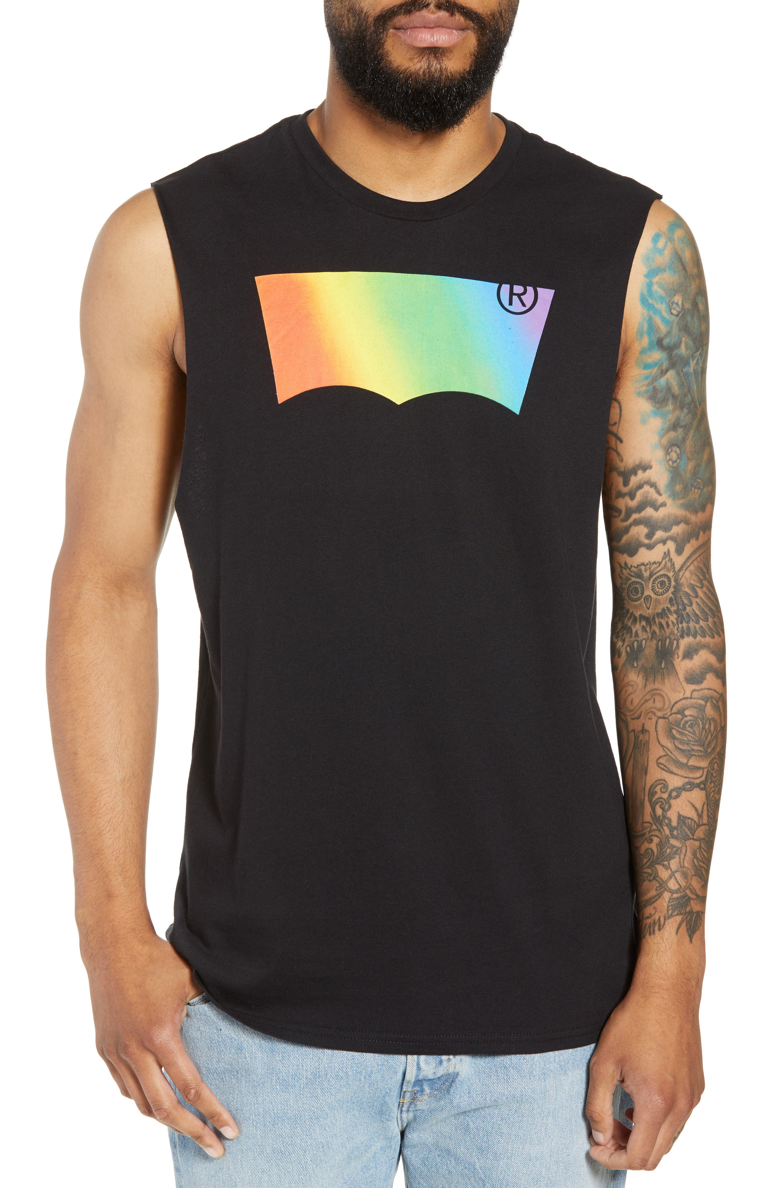 Community Sleeveless T-Shirt,                         Main,                         color, RAINBOW GRADIENT BLACK