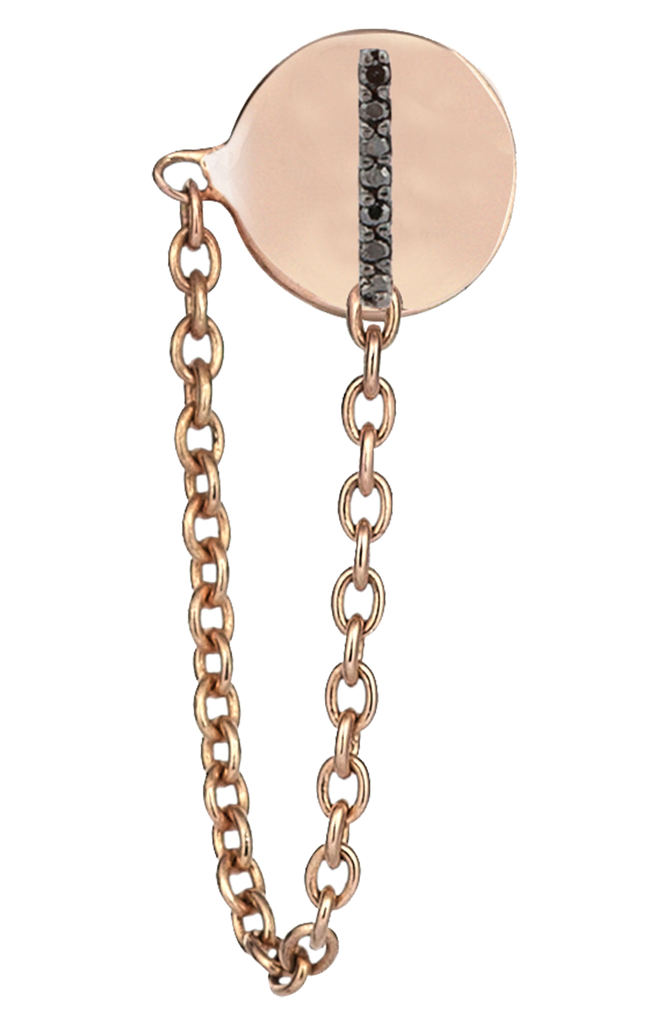 Black Diamond Stud Chain Earring,                             Main thumbnail 1, color,                             ROSE GOLD