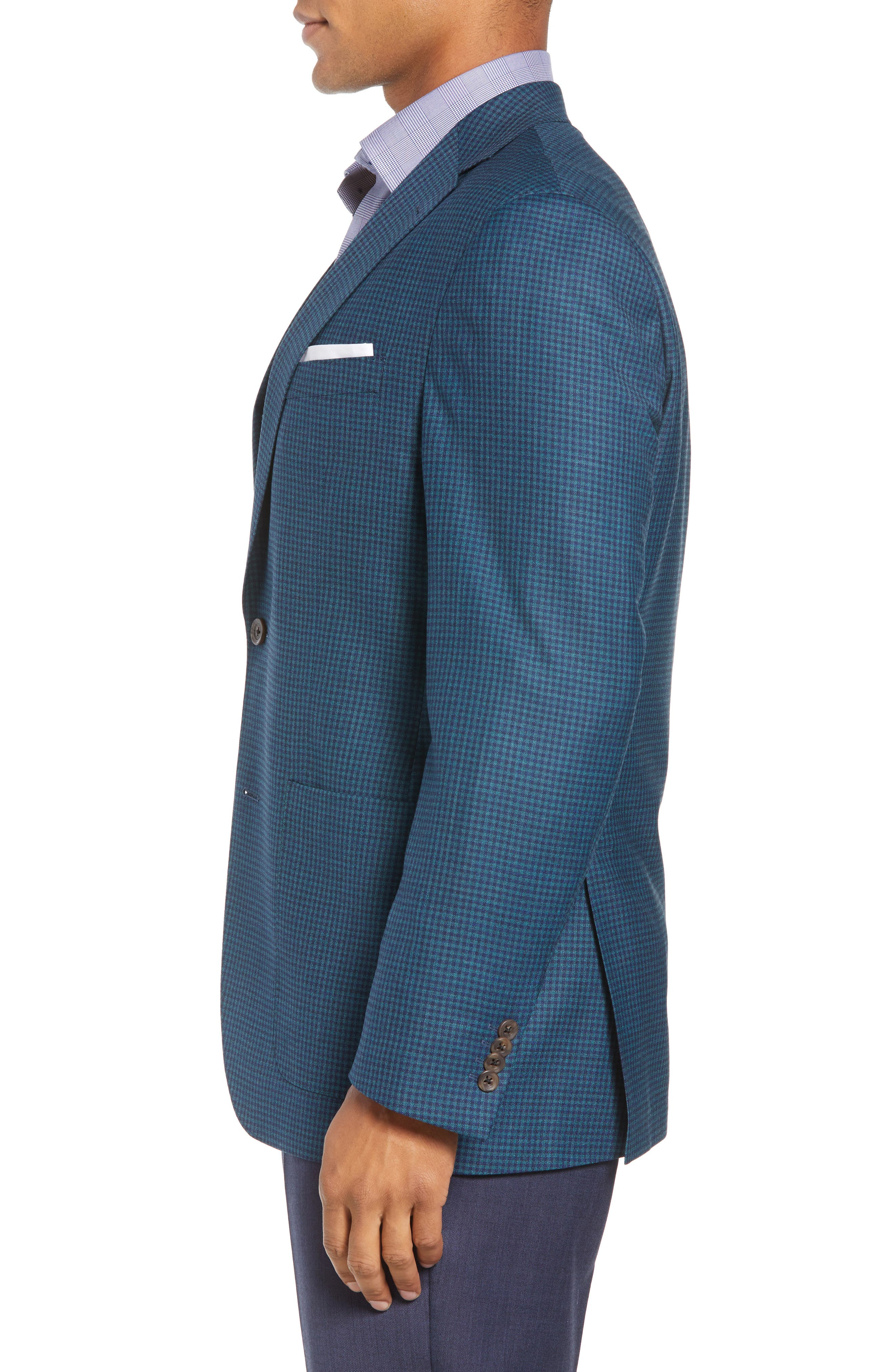Aiden Classic Fit Check Wool Sport Coat,                             Alternate thumbnail 3, color,                             GREEN