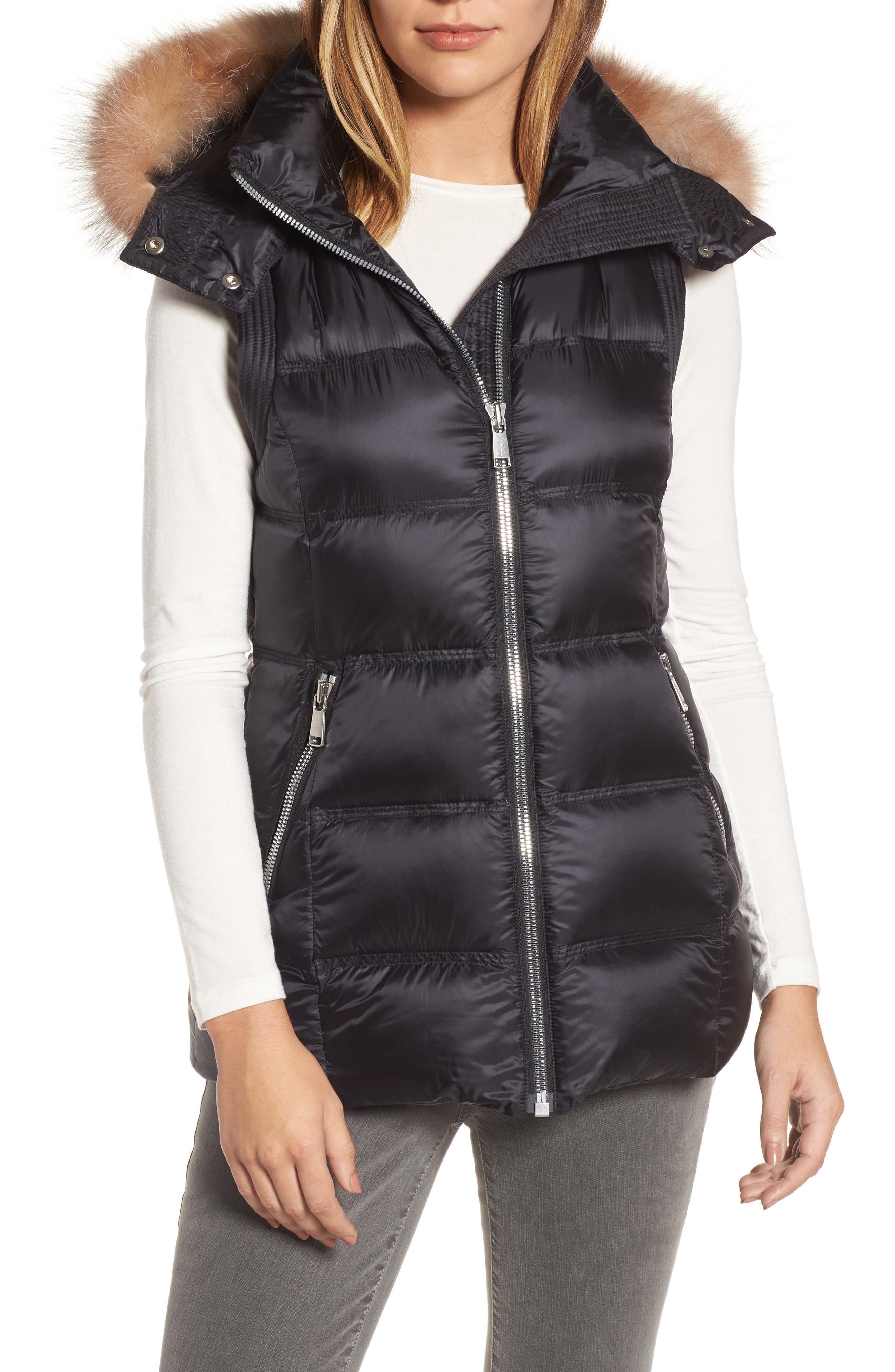 Claire 28 Water Resistant Hooded Down Vest with Genuine Fox Fur Trim,                         Main,                         color, 001