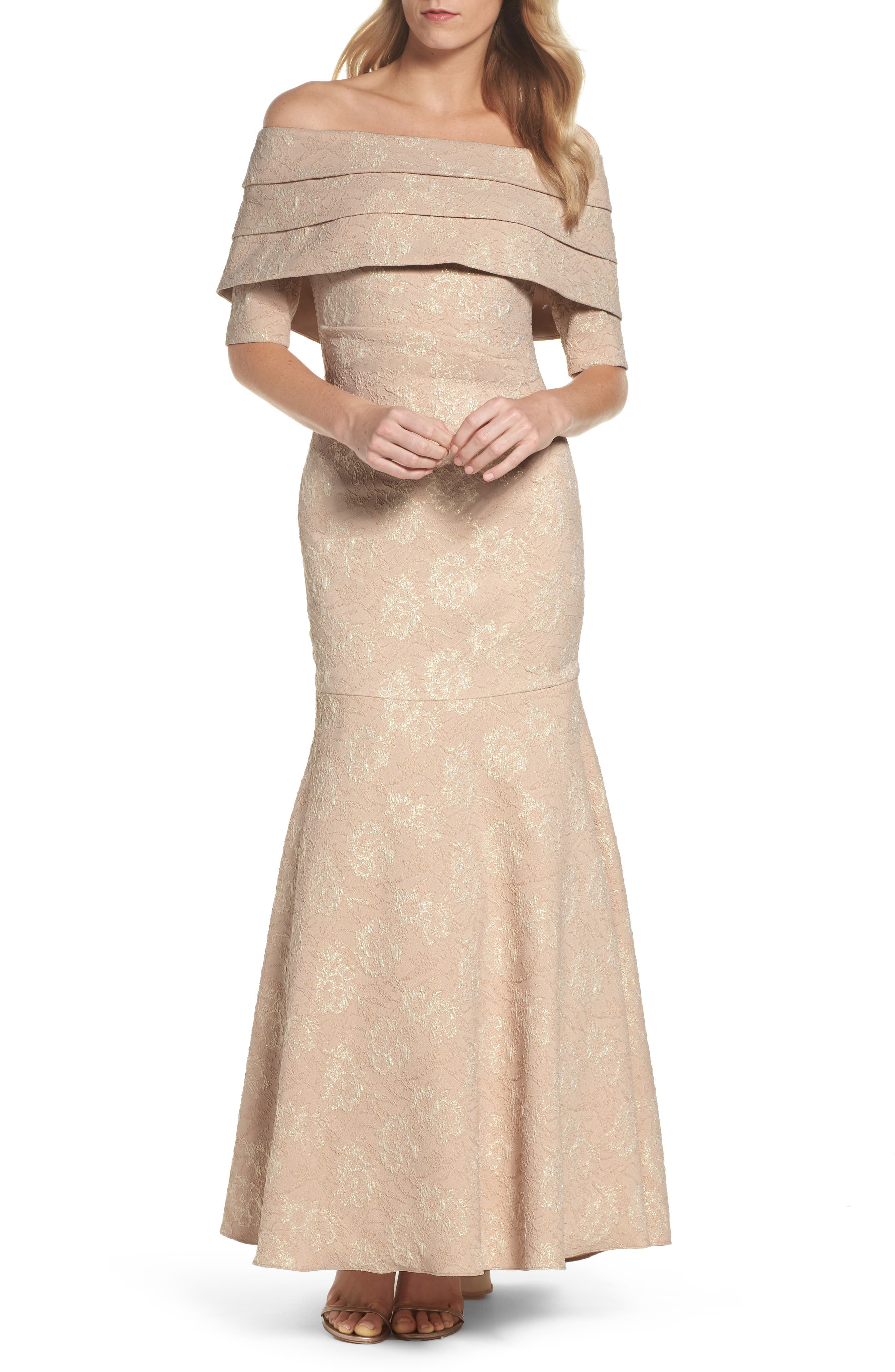 Brocade Off the Shoulder Trumpet Gown,                             Main thumbnail 1, color,                             908