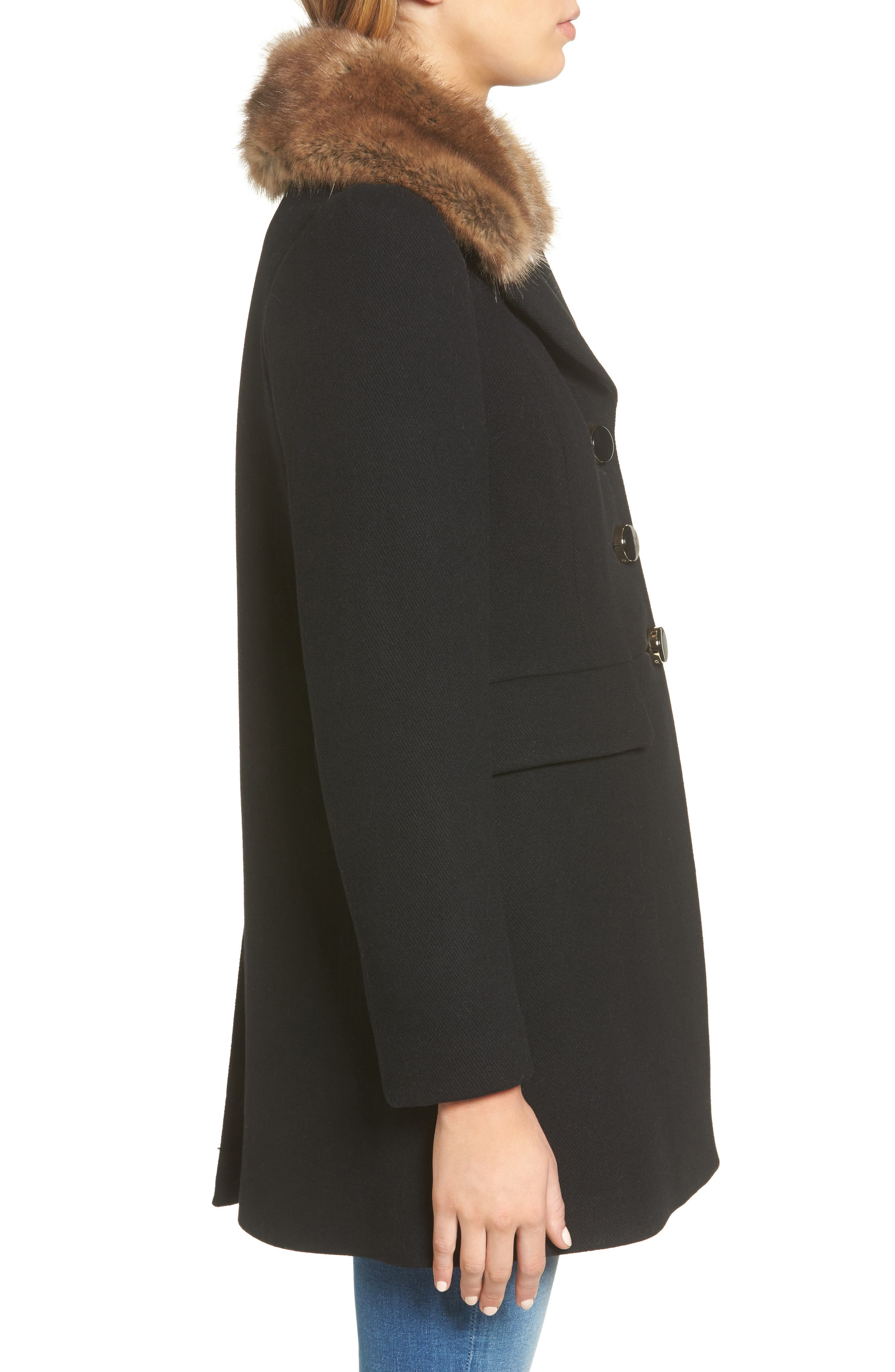 peacoat with faux fur trim,                             Alternate thumbnail 3, color,                             001