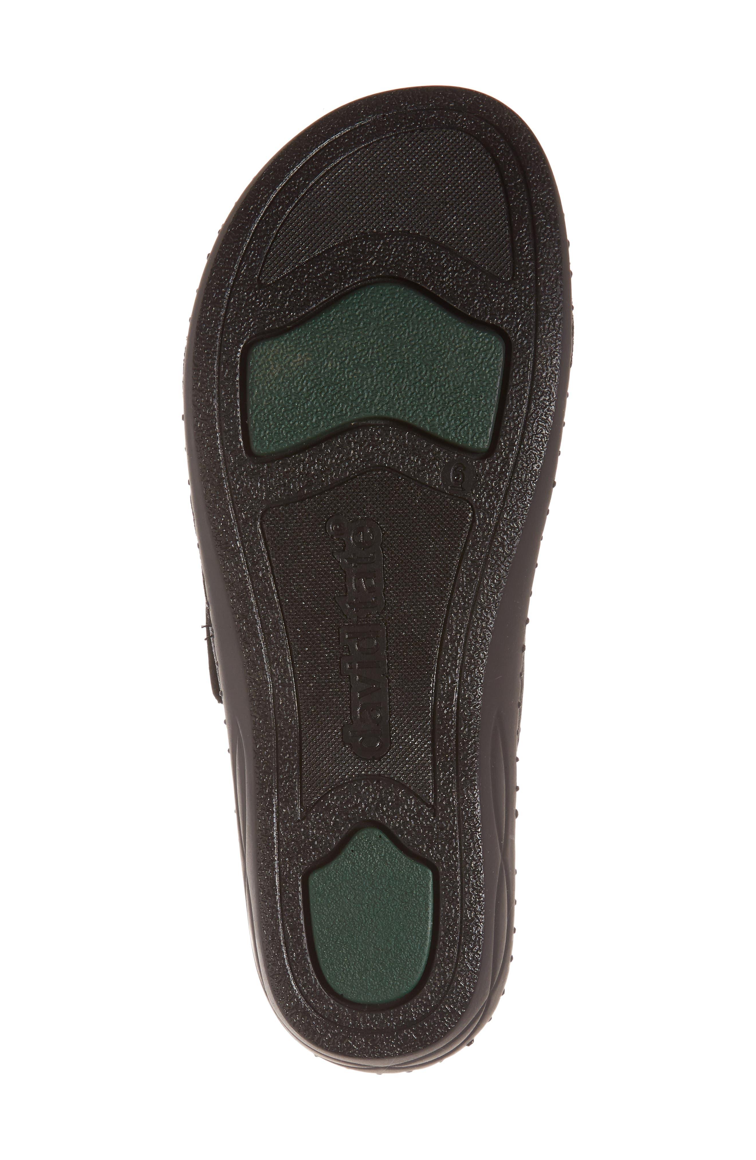 DAVID TATE,                             Flex Slide Sandal,                             Alternate thumbnail 6, color,                             BLACK LEATHER