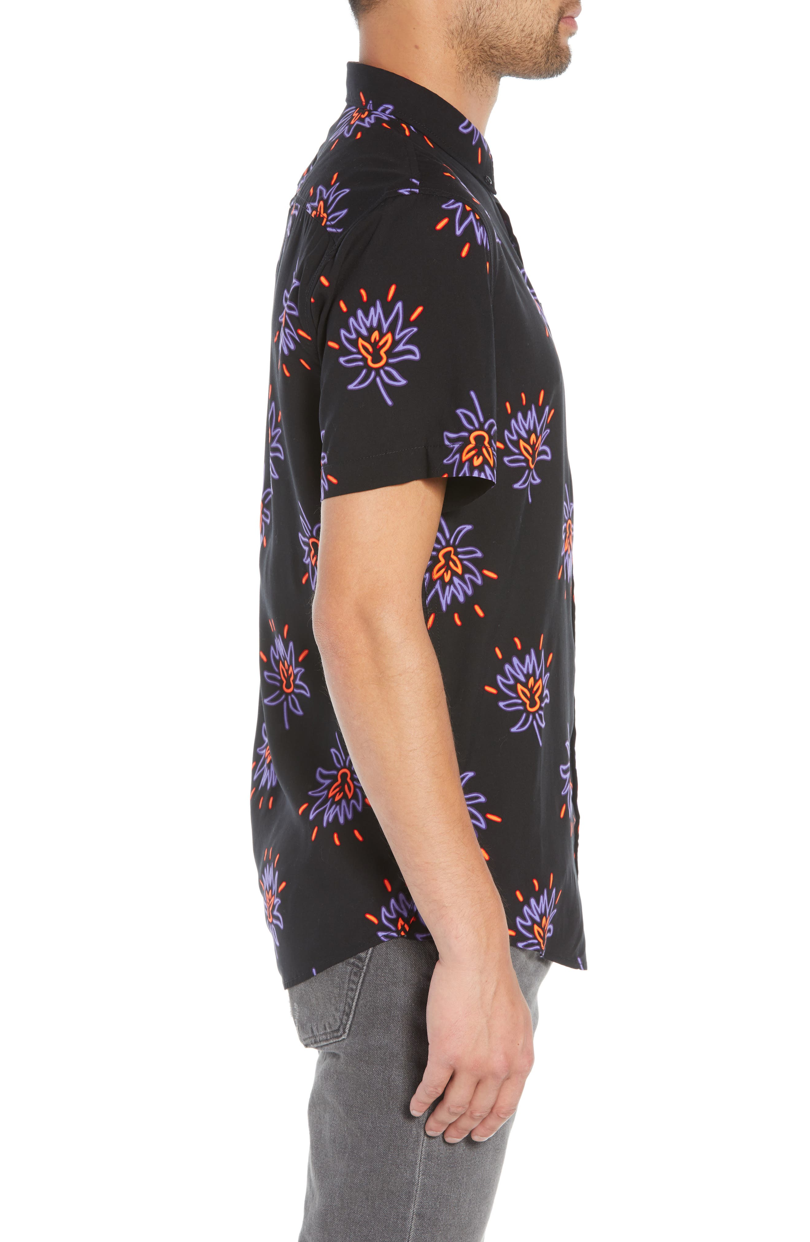 Neon Flower Print Woven Shirt,                             Alternate thumbnail 3, color,                             BLACK PURPLE NEON FLORAL