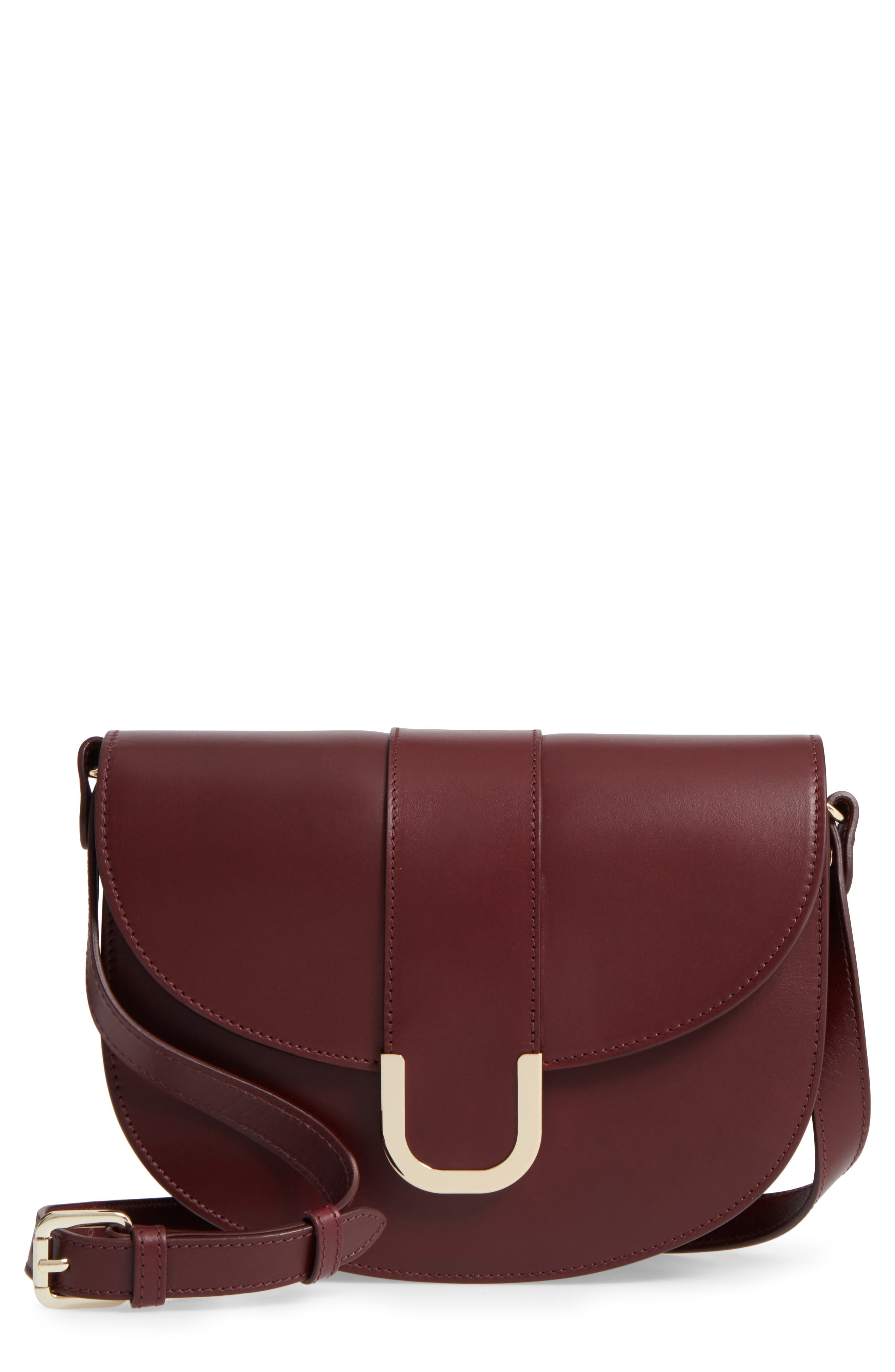 Soho Calfskin Leather Saddle Bag,                             Main thumbnail 1, color,                             600