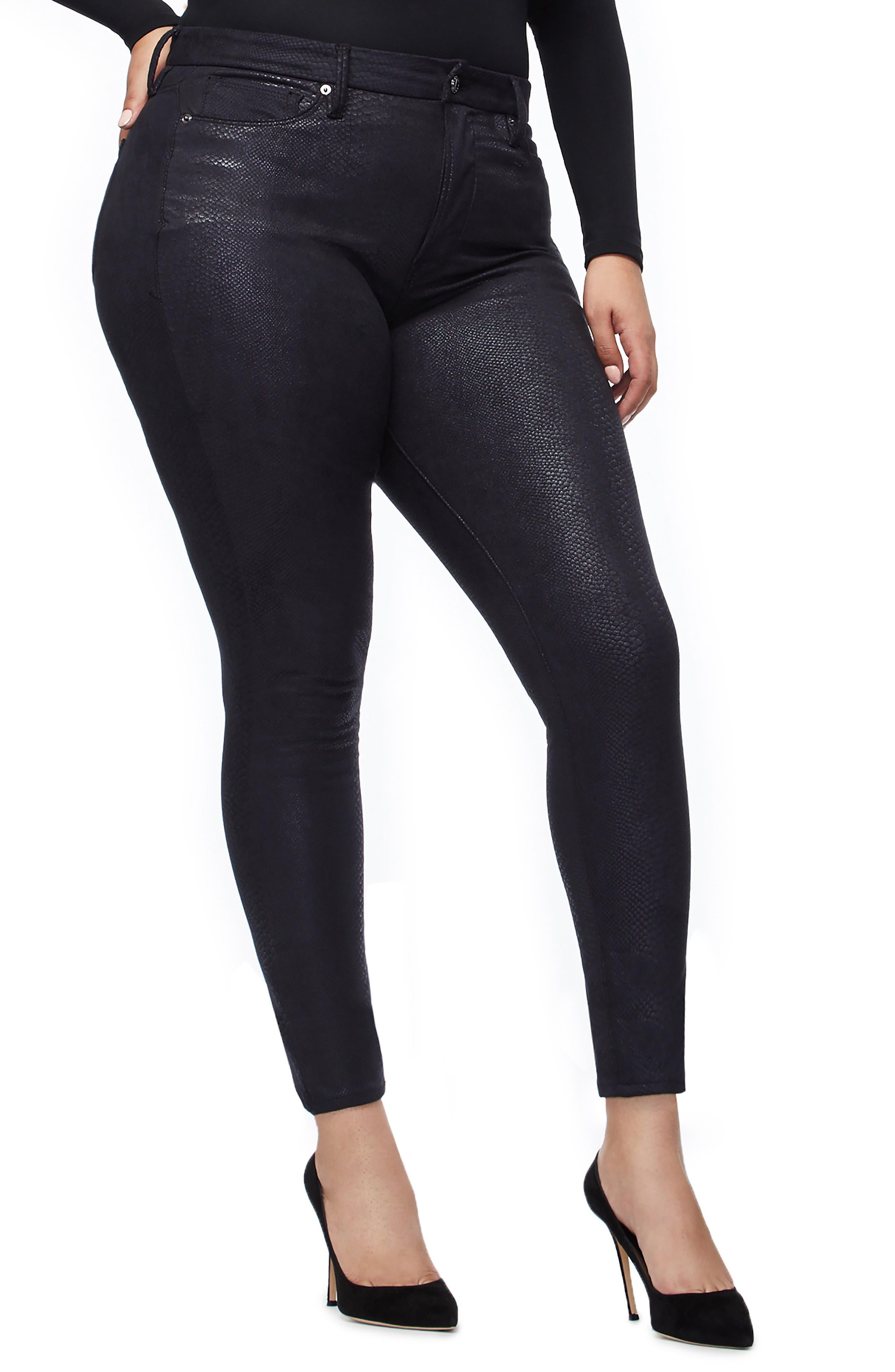 GOOD AMERICAN,                             Good Legs Metallic Snake Print Skinny Jeans,                             Alternate thumbnail 8, color,                             BLACK041