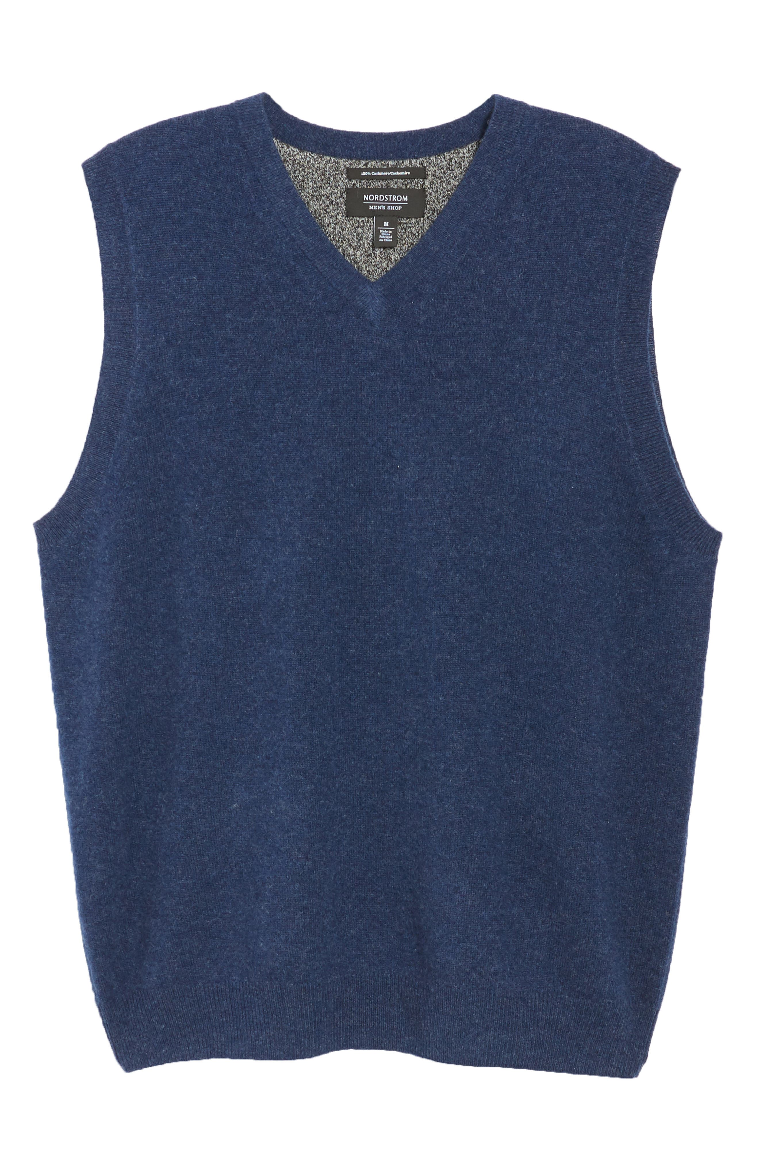 Cashmere V-Neck Sweater Vest,                             Alternate thumbnail 6, color,                             BLUE ESTATE HEATHER