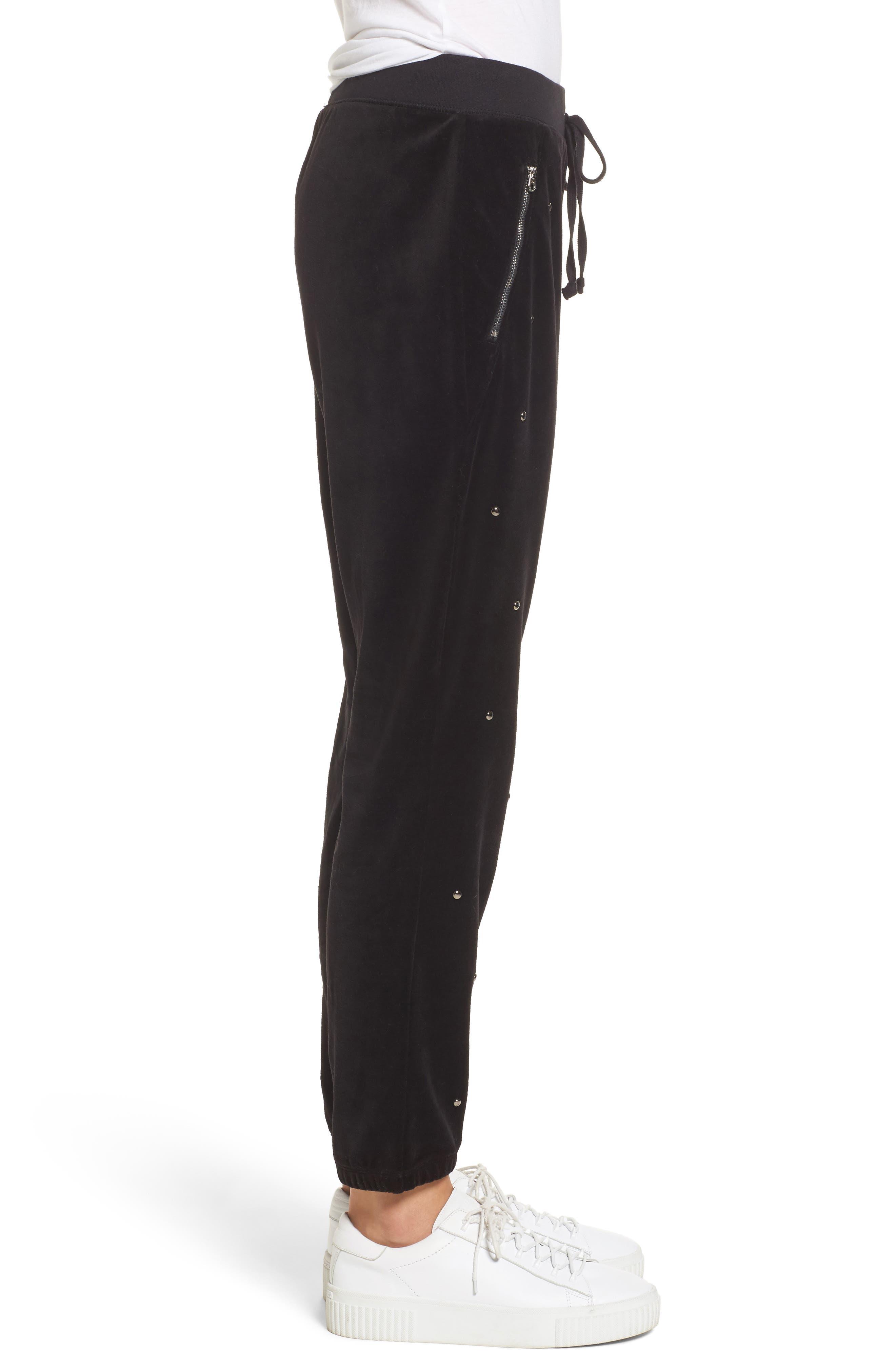 Velour Studded Track Pants,                             Alternate thumbnail 3, color,                             009