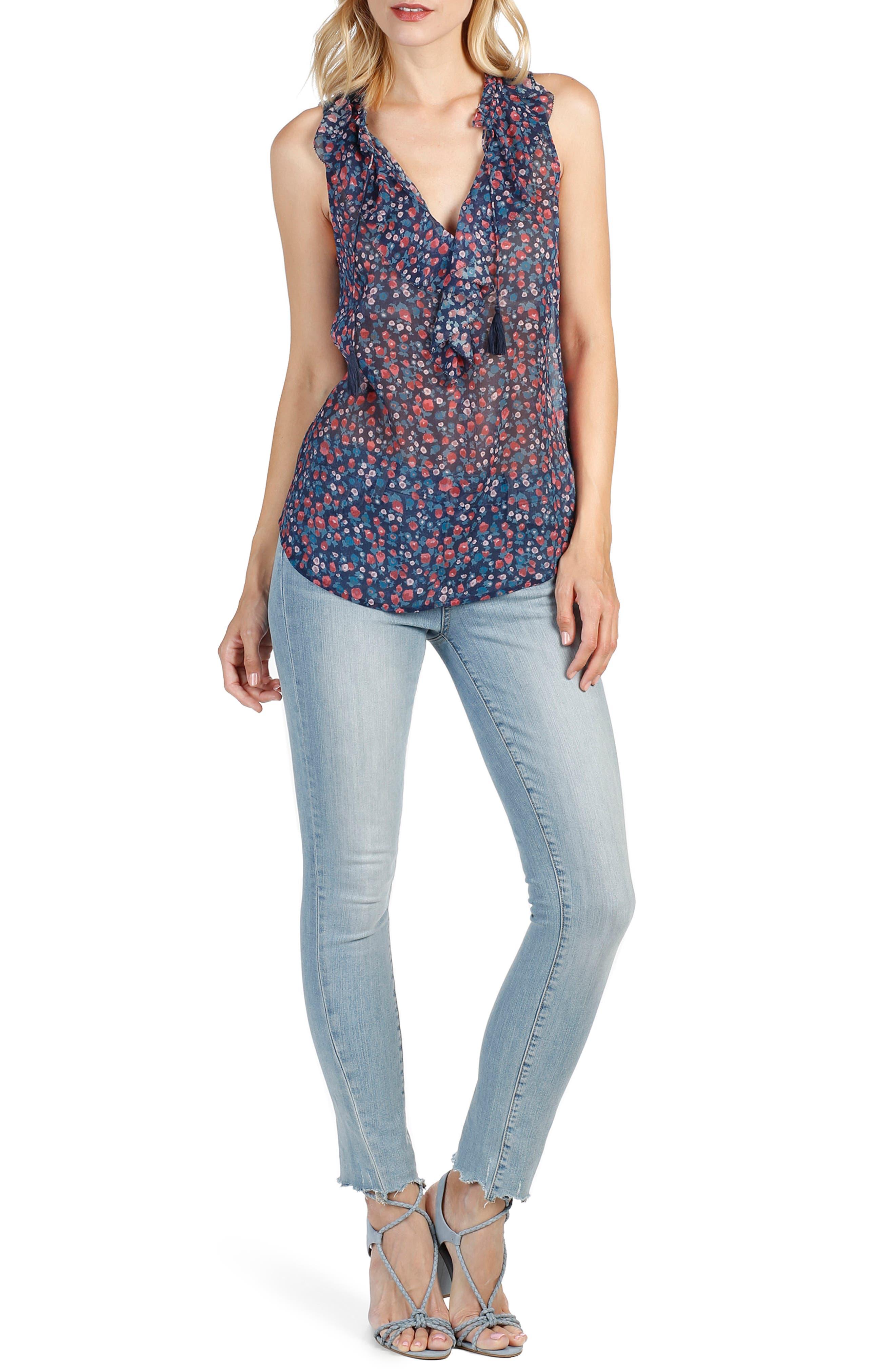 Alma Floral Silk Top,                         Main,                         color, 400