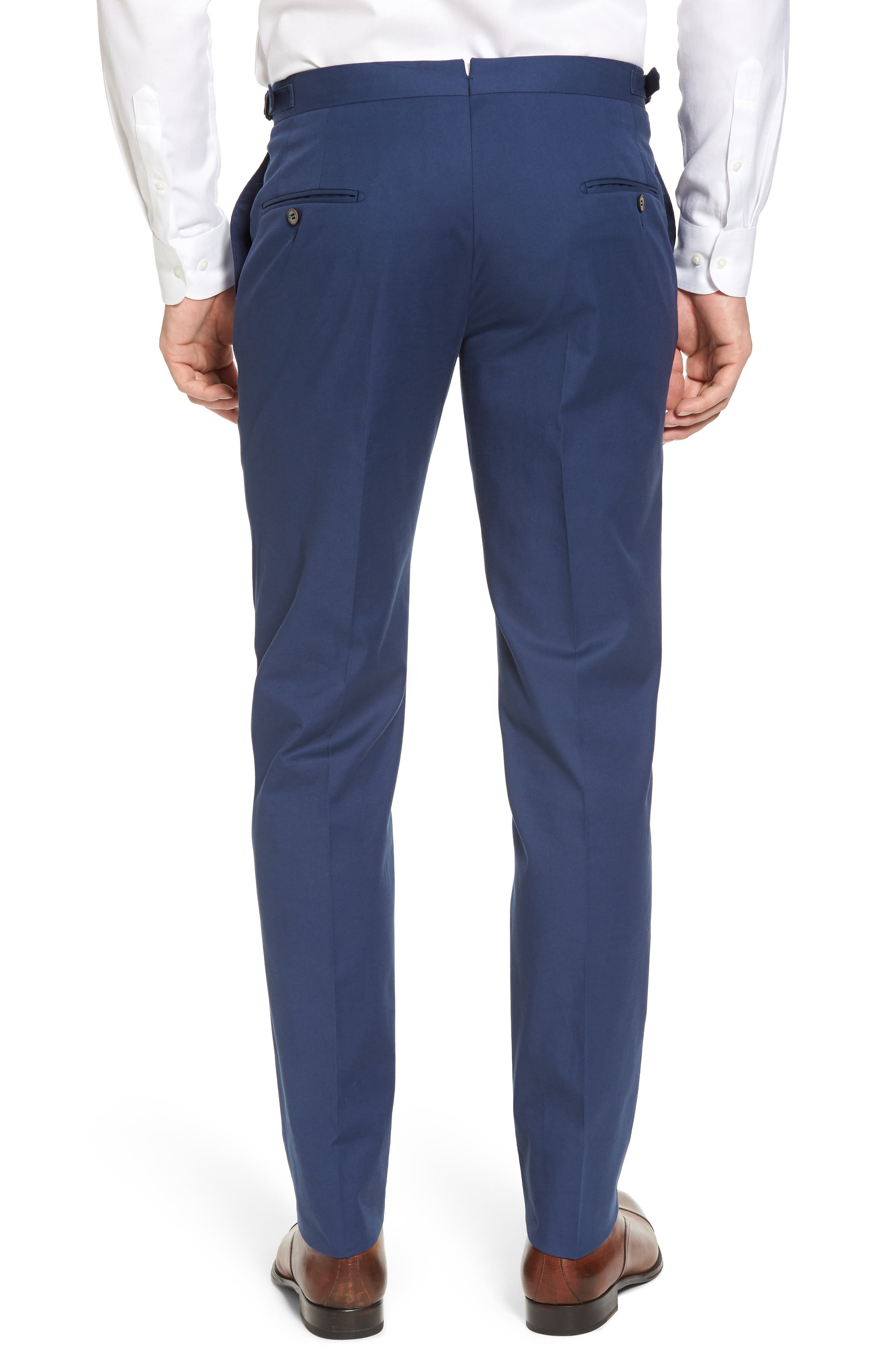 Flat Front Solid Stretch Cotton Trousers,                             Alternate thumbnail 2, color,                             422