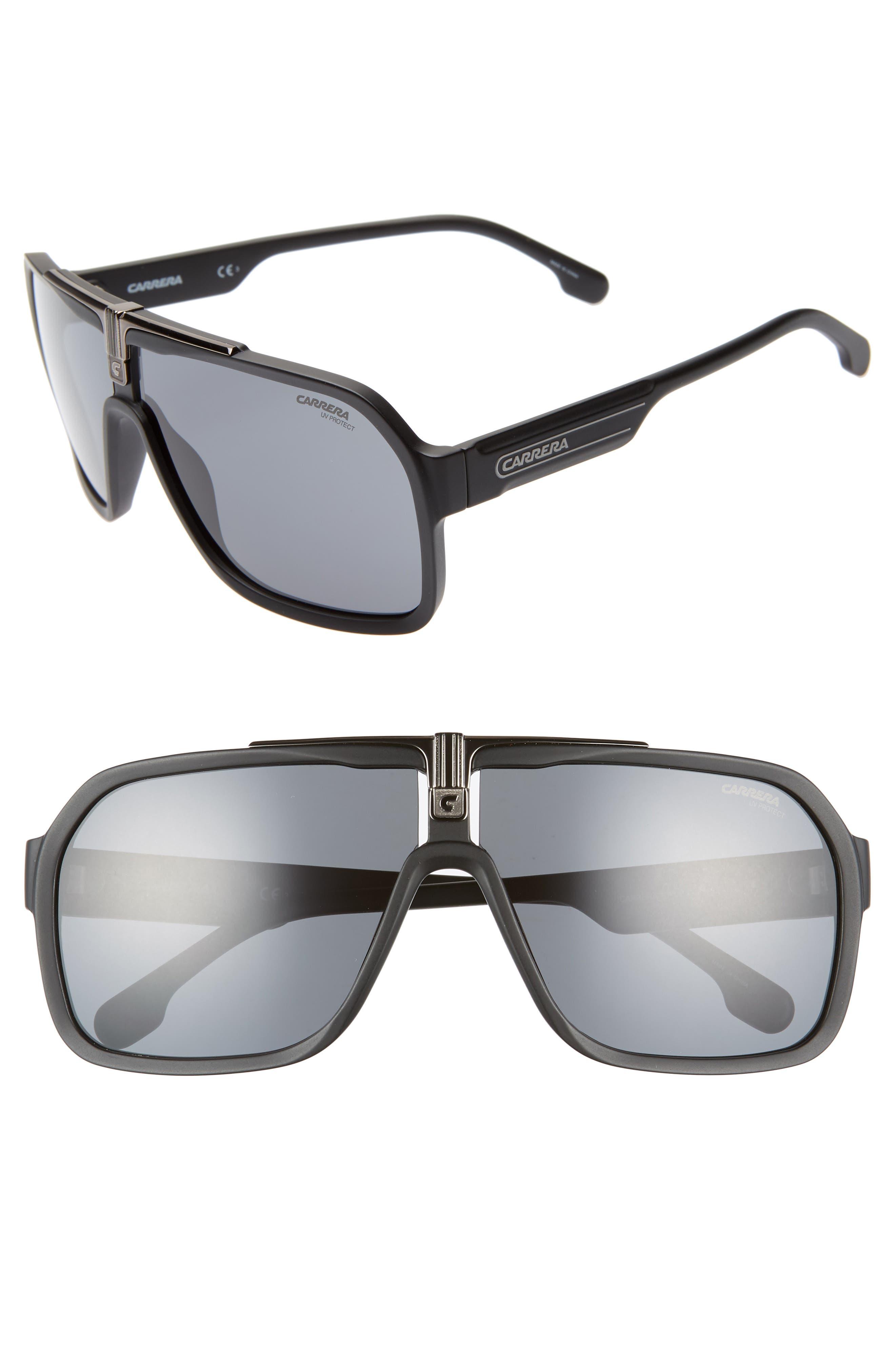 64mm Navigator Sunglasses,                         Main,                         color, MATTE BLACK