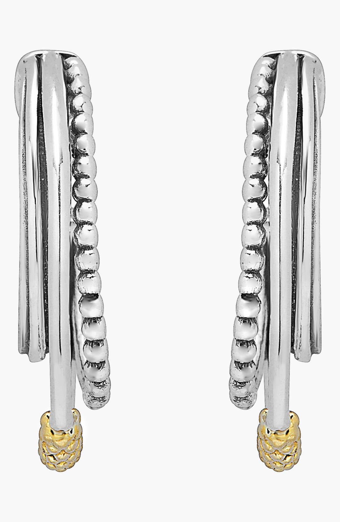 Caviar 'Superfine' Two-Tone Station Hoop Earrings,                             Alternate thumbnail 5, color,                             SILVER/ GOLD