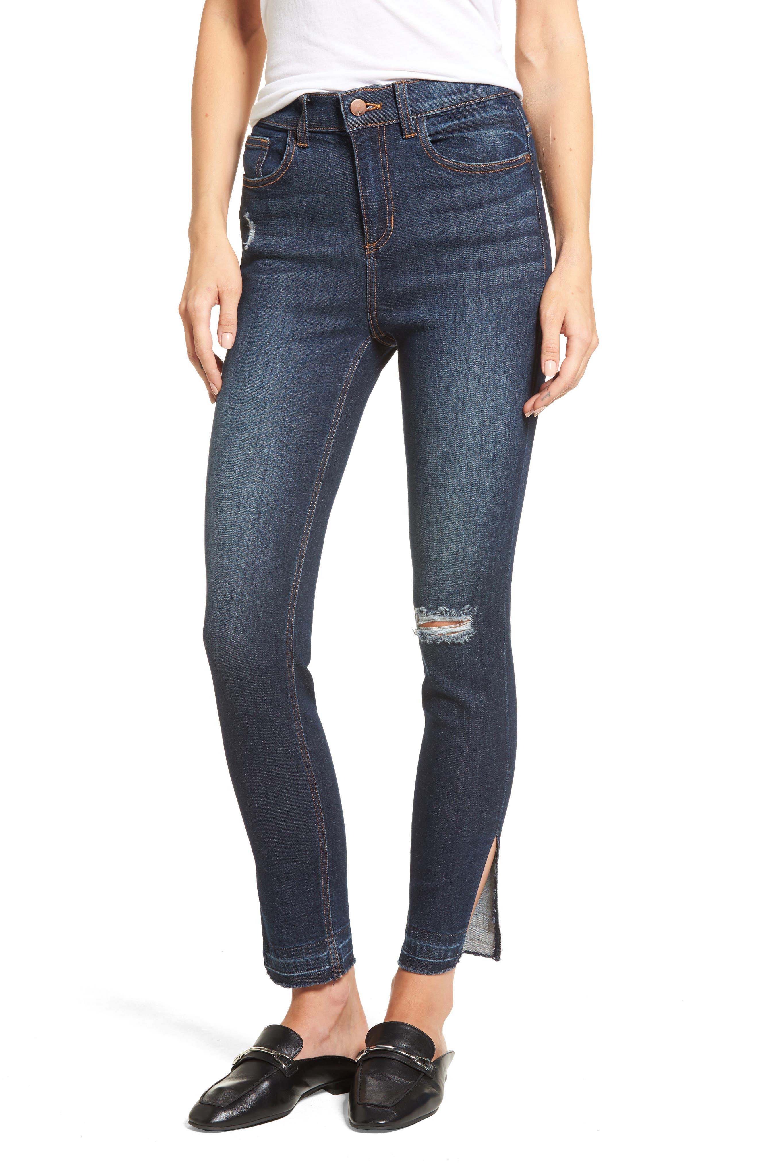 Split Hem Skinny Jeans,                             Main thumbnail 1, color,                             401