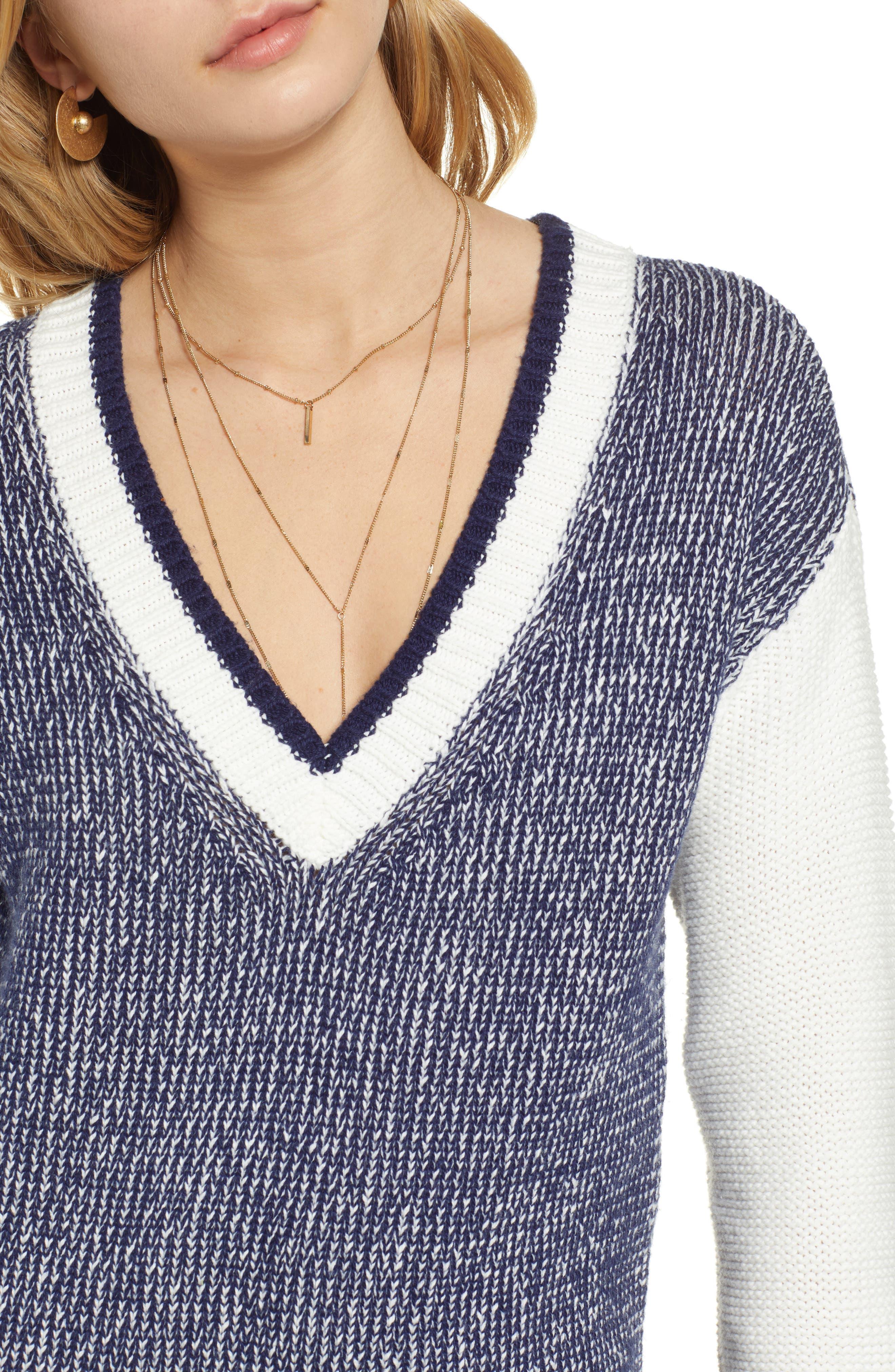 Marled V-Neck Sweater,                             Alternate thumbnail 4, color,                             NAVY MARITIME- WHITE COMBO