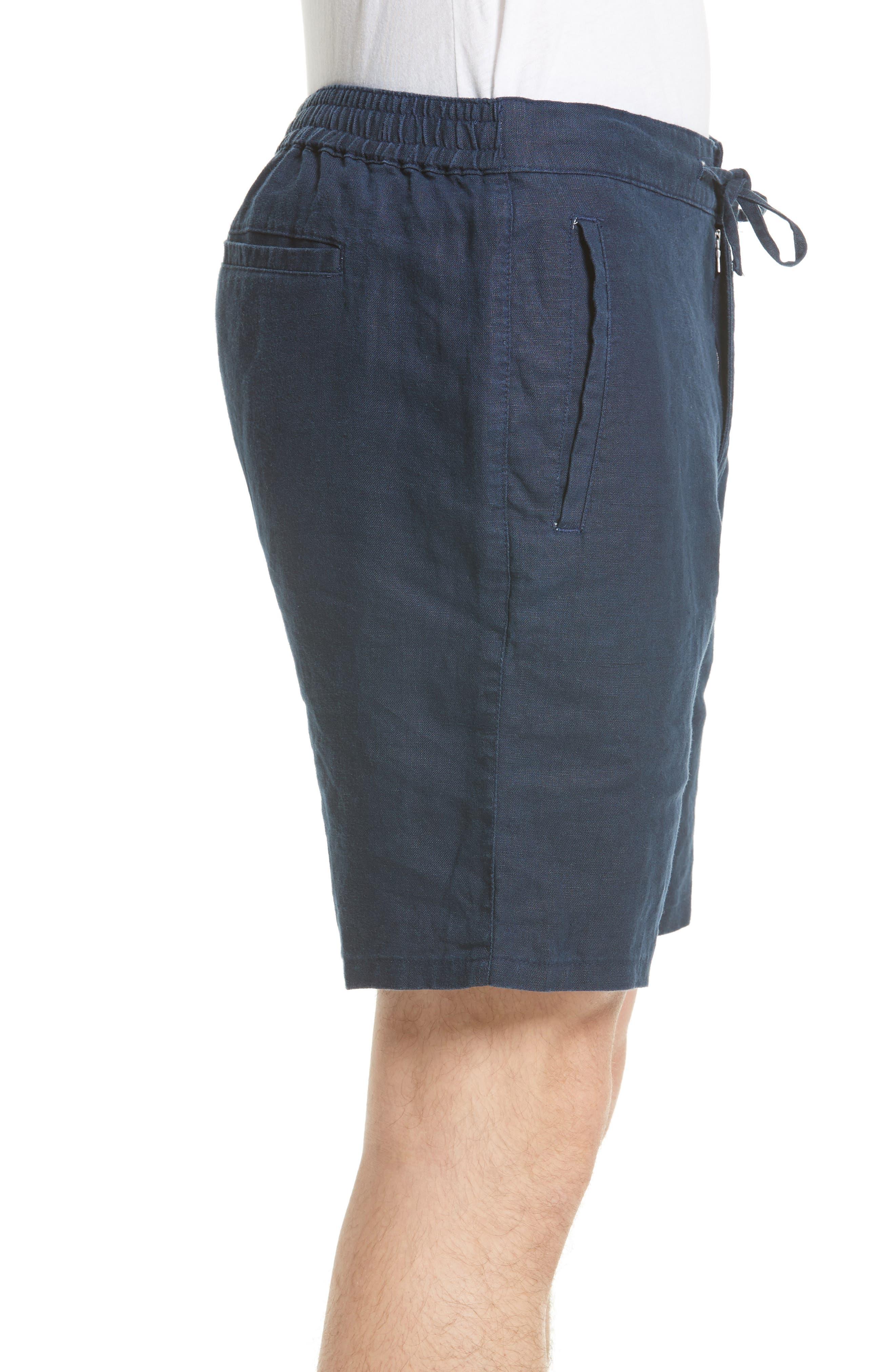 Max Linen Shorts,                             Alternate thumbnail 3, color,                             DEEP NAVY