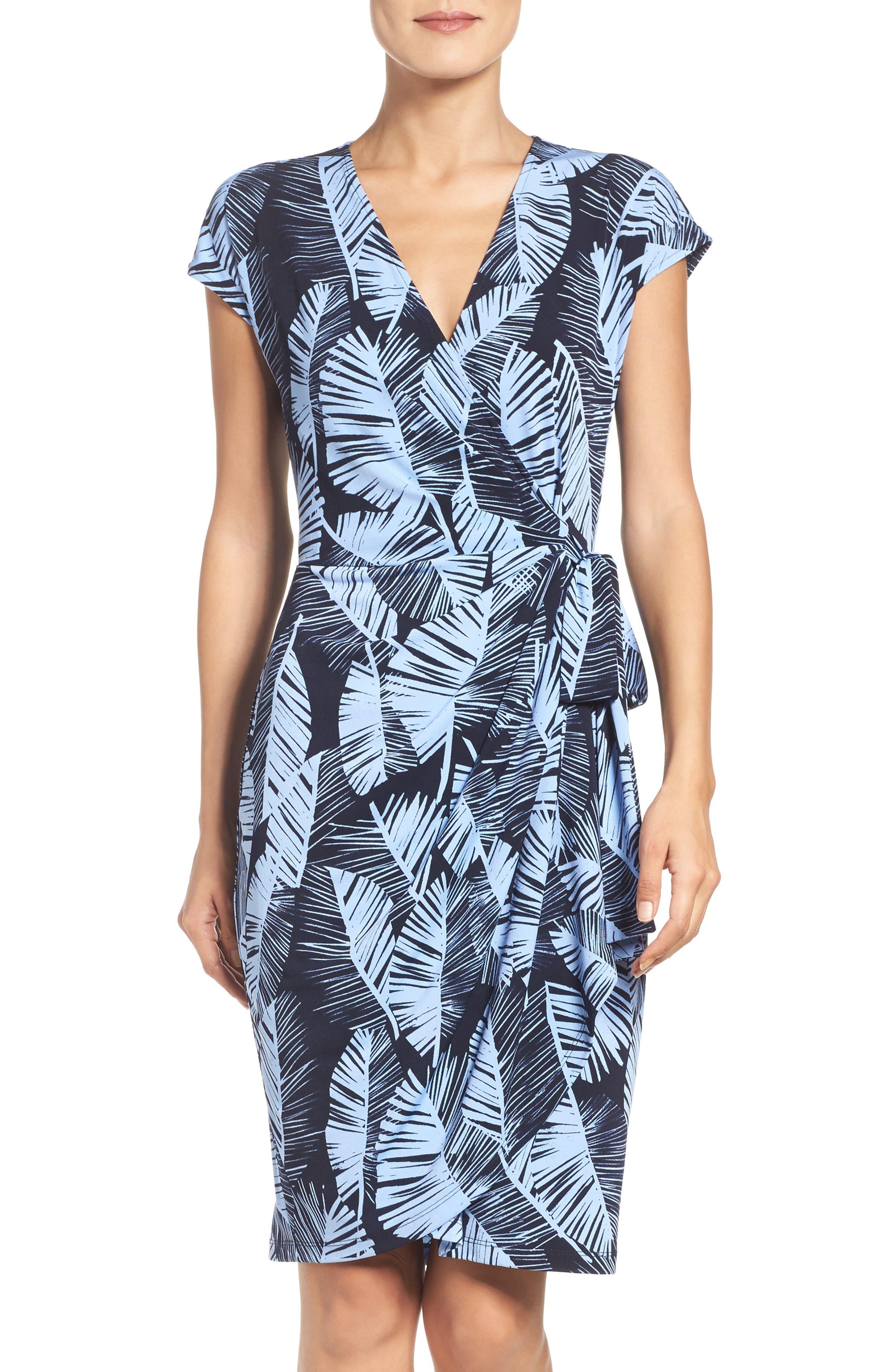 Palm Leaf Wrap Dress,                         Main,                         color, 420