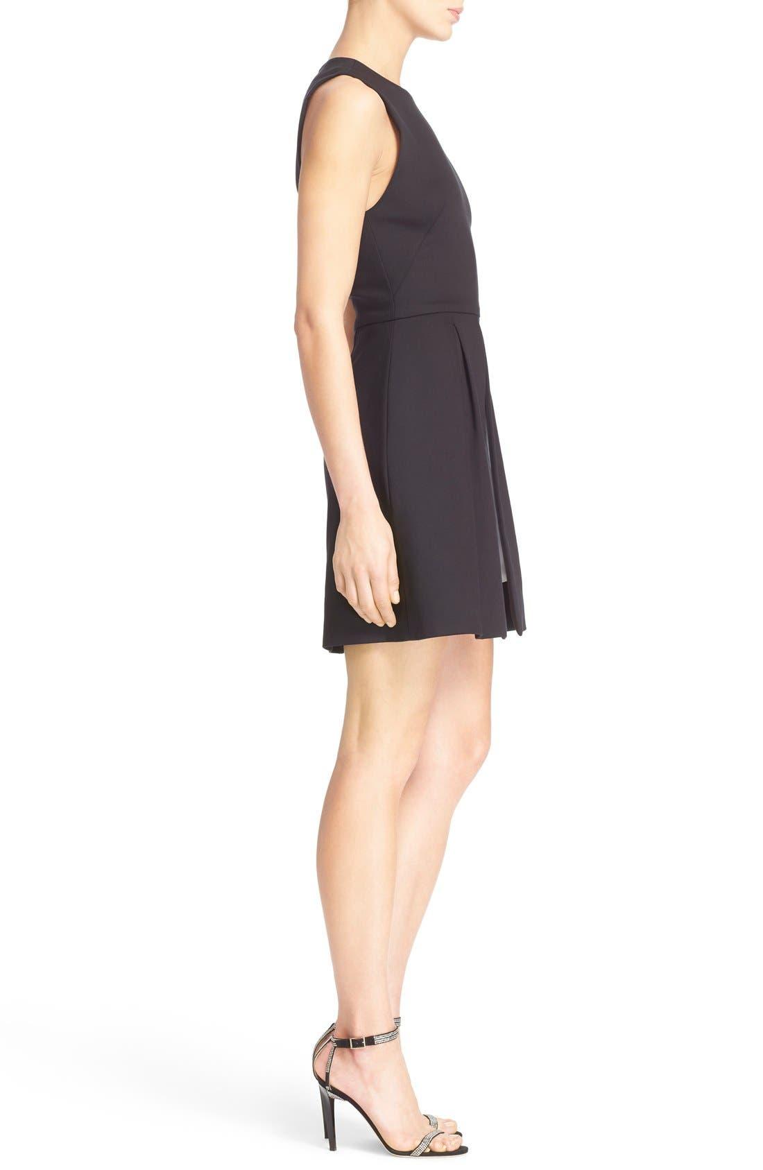 'Bria' Peplum Fit & Flare Dress,                             Alternate thumbnail 4, color,                             009
