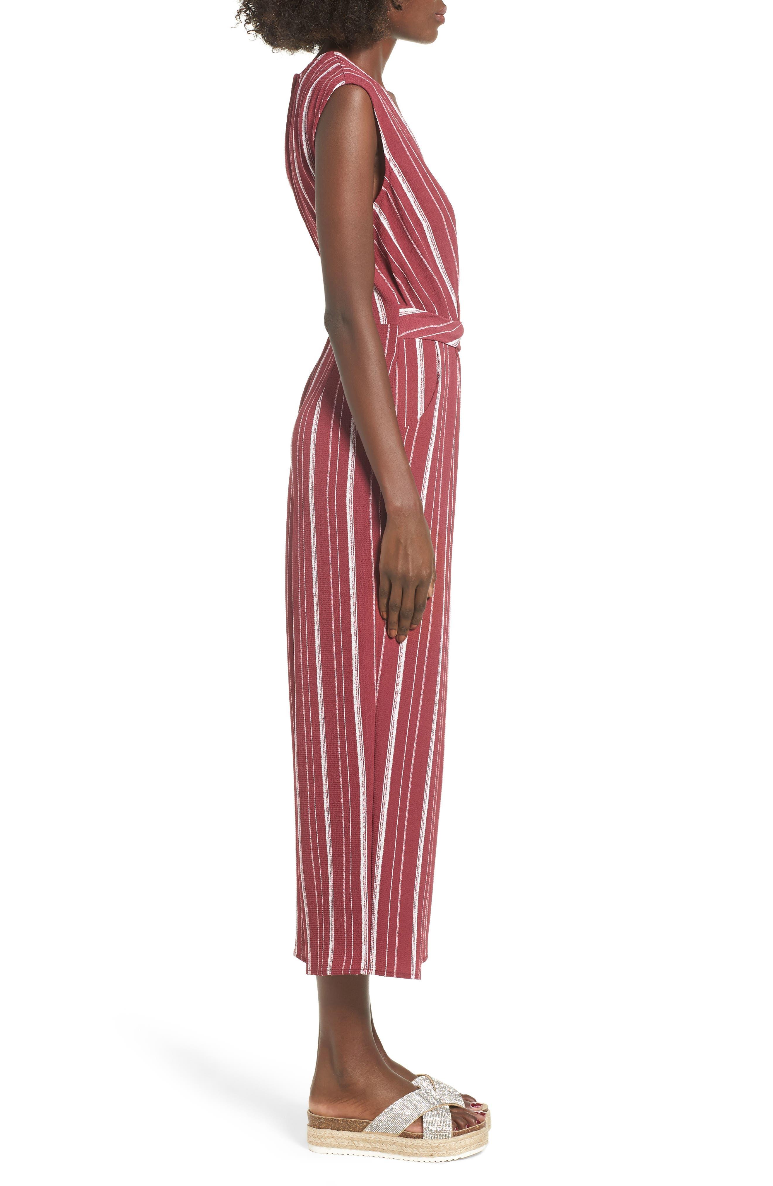 Stripe Jumpsuit,                             Alternate thumbnail 3, color,                             WINE