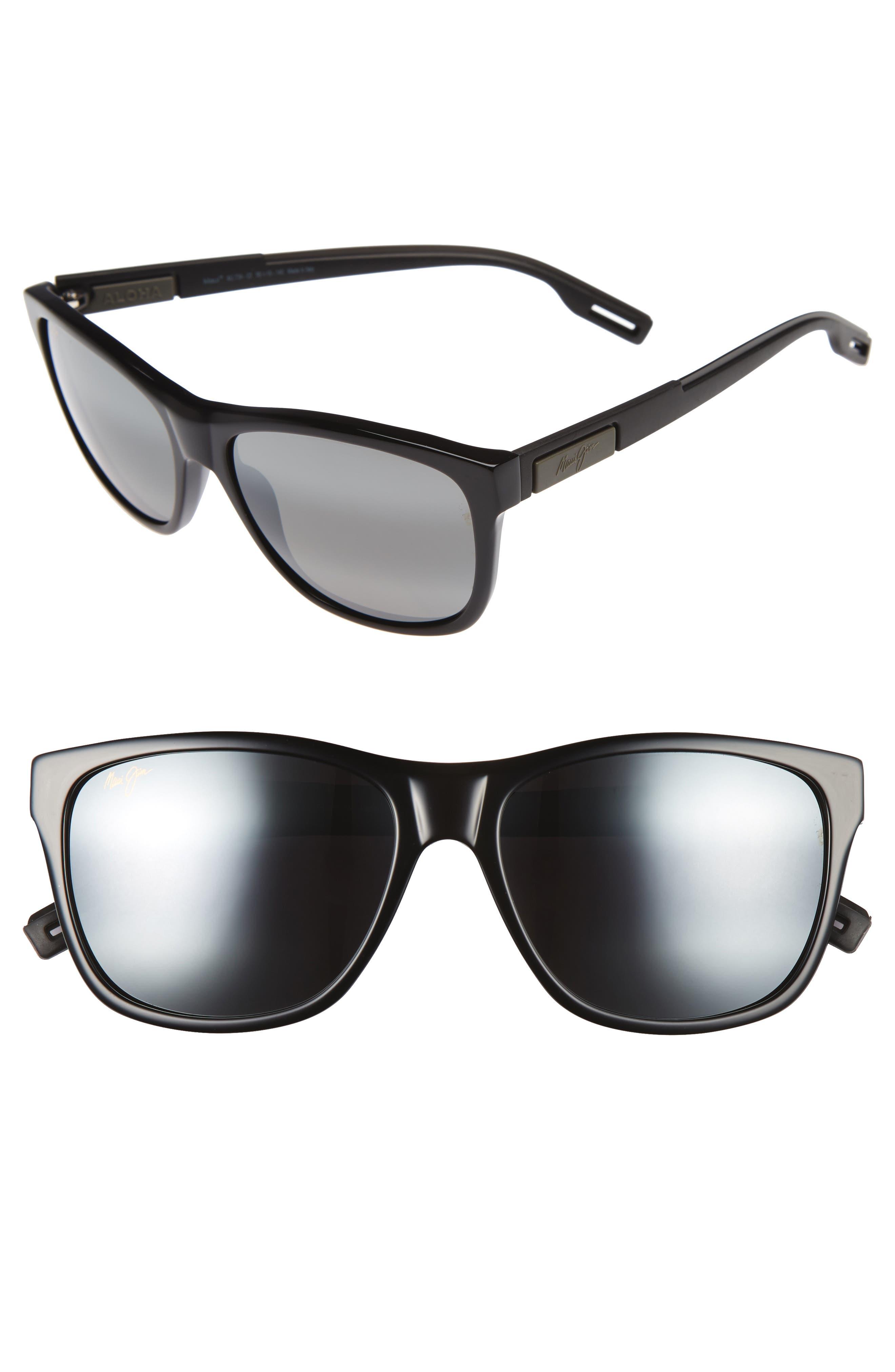 Howzit 56mm Polarized Gradient Sunglasses,                         Main,                         color, GLOSS BLACK