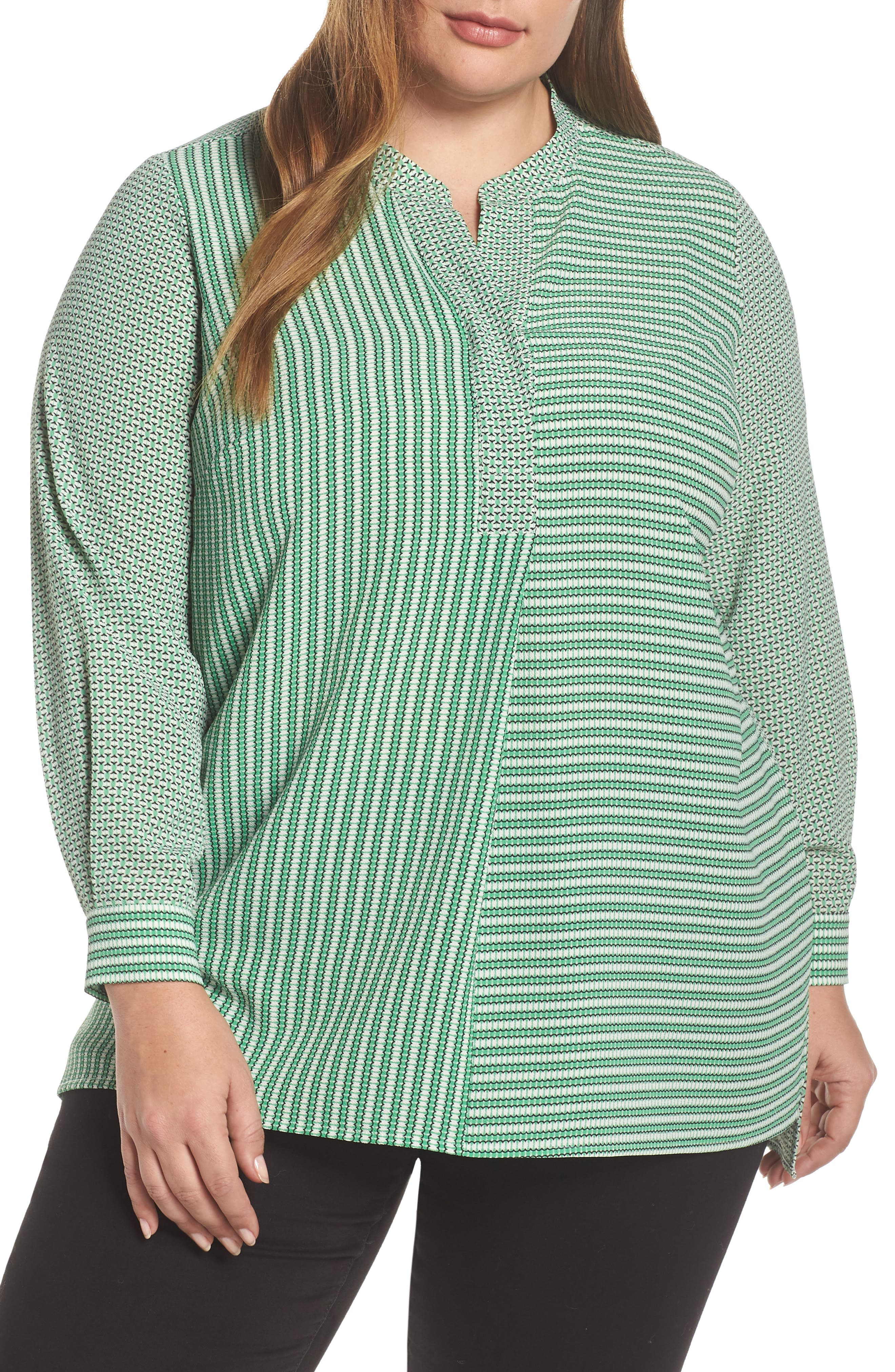 Linear Motion Print Long Sleeve Tunic, Main, color, EMERALD LEAF