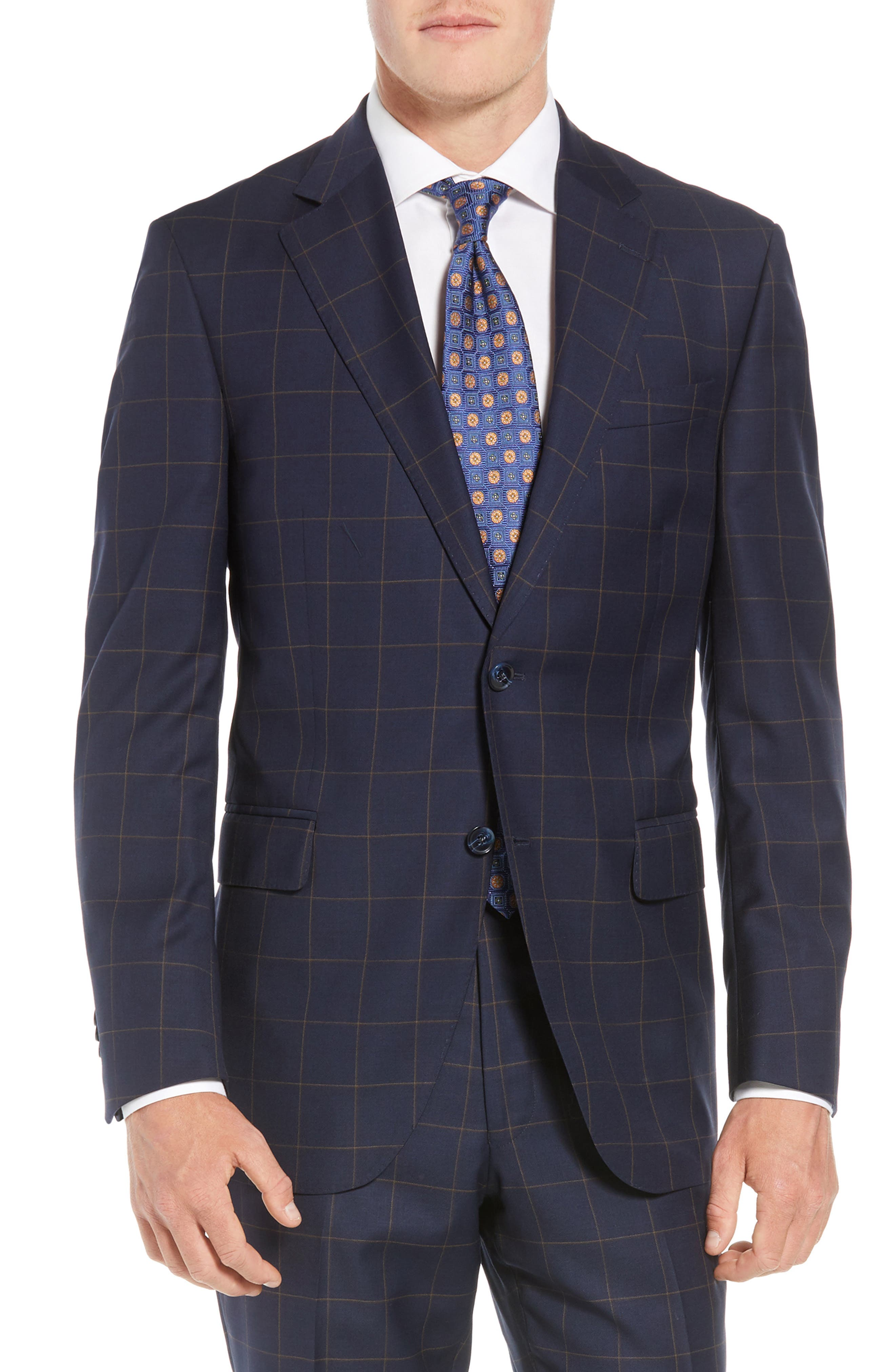 PETER MILLAR,                             Flynn Classic Fit Windowpane Wool Suit,                             Alternate thumbnail 5, color,                             NAVY