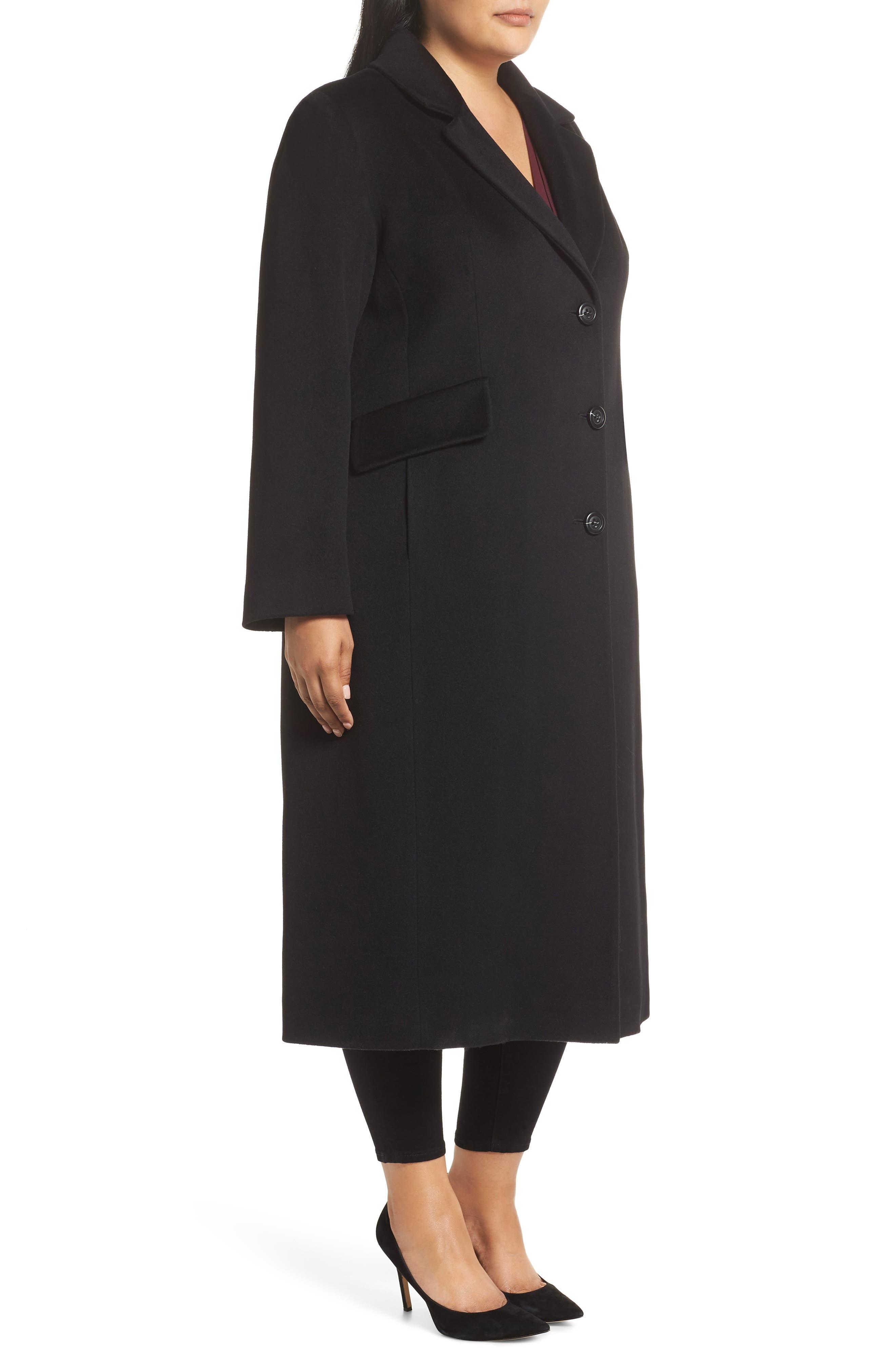 FLEURETTE,                             Maxi Reefer Wool Coat,                             Alternate thumbnail 3, color,                             BLACK