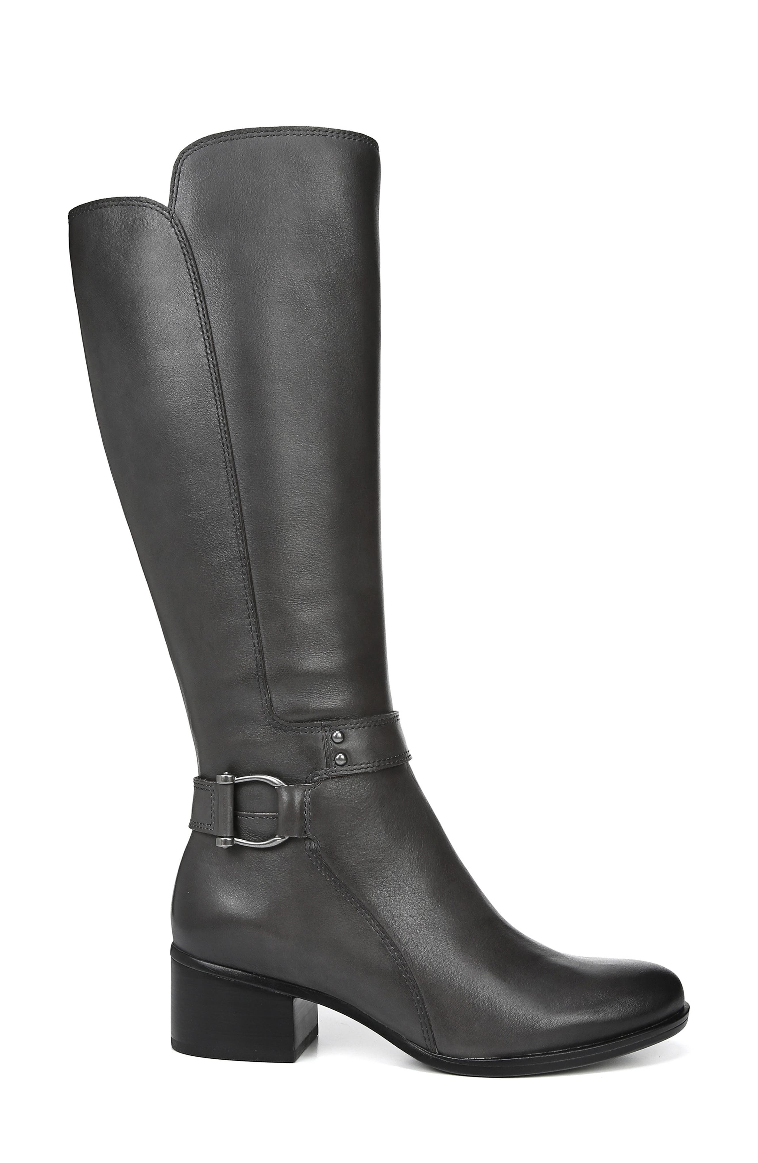 Dane Knee High Riding Boot,                             Alternate thumbnail 3, color,                             GREY LEATHER