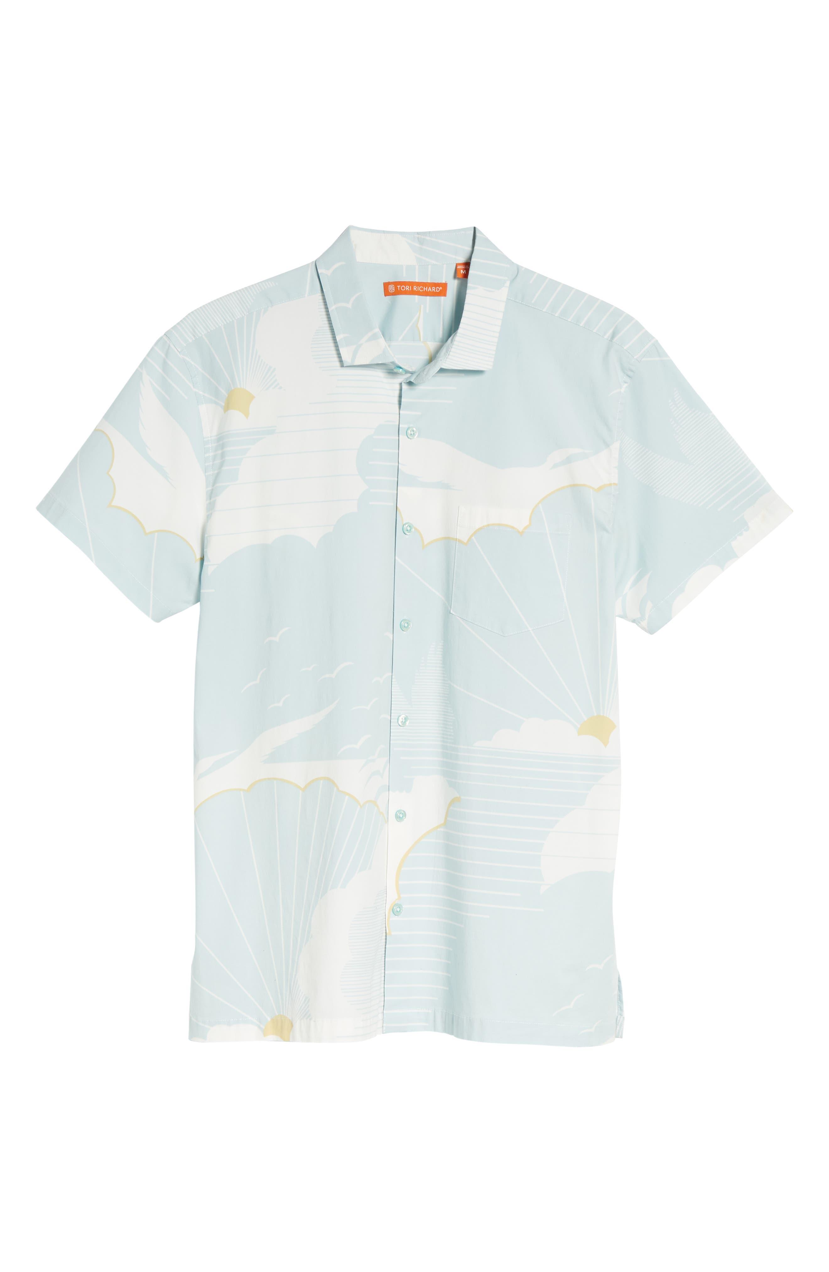 Daybreak Trim Fit Camp Shirt,                             Alternate thumbnail 6, color,                             WATER