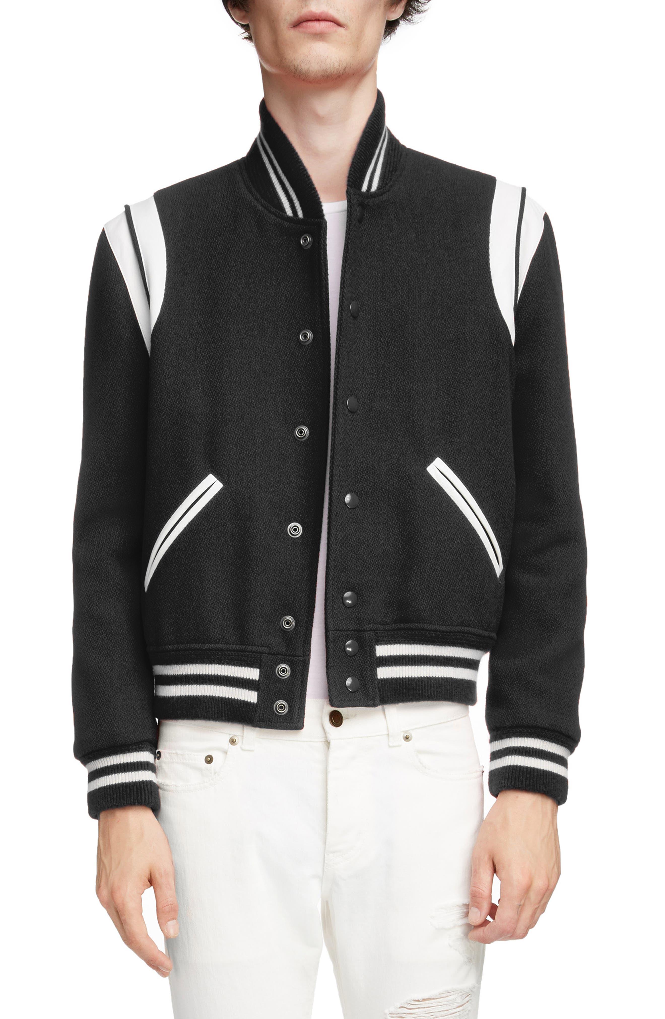 Teddy Wool Varsity Jacket, Main, color, BLACK