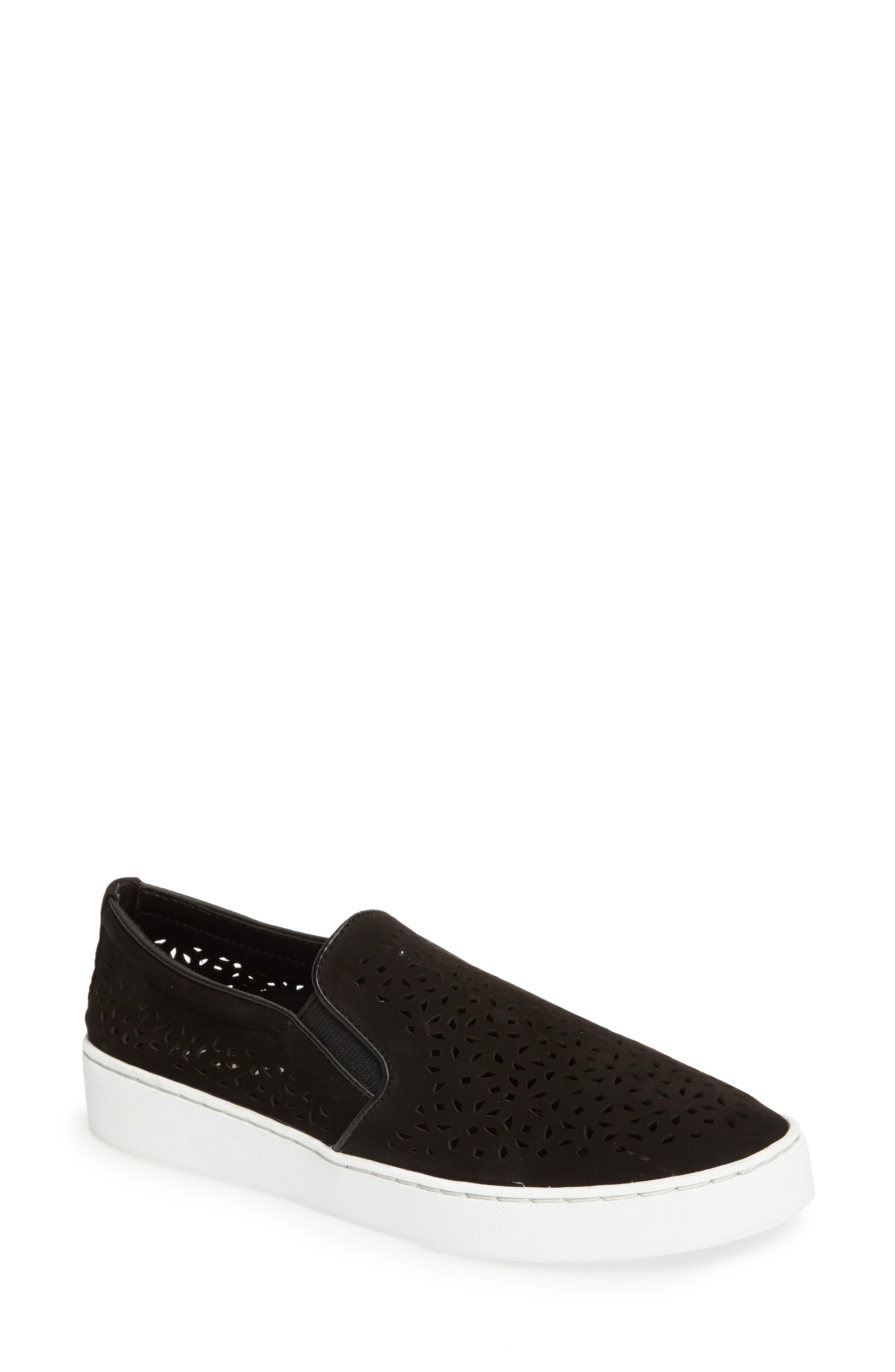 Perforated Slip-On Sneaker,                             Main thumbnail 1, color,                             BLACK