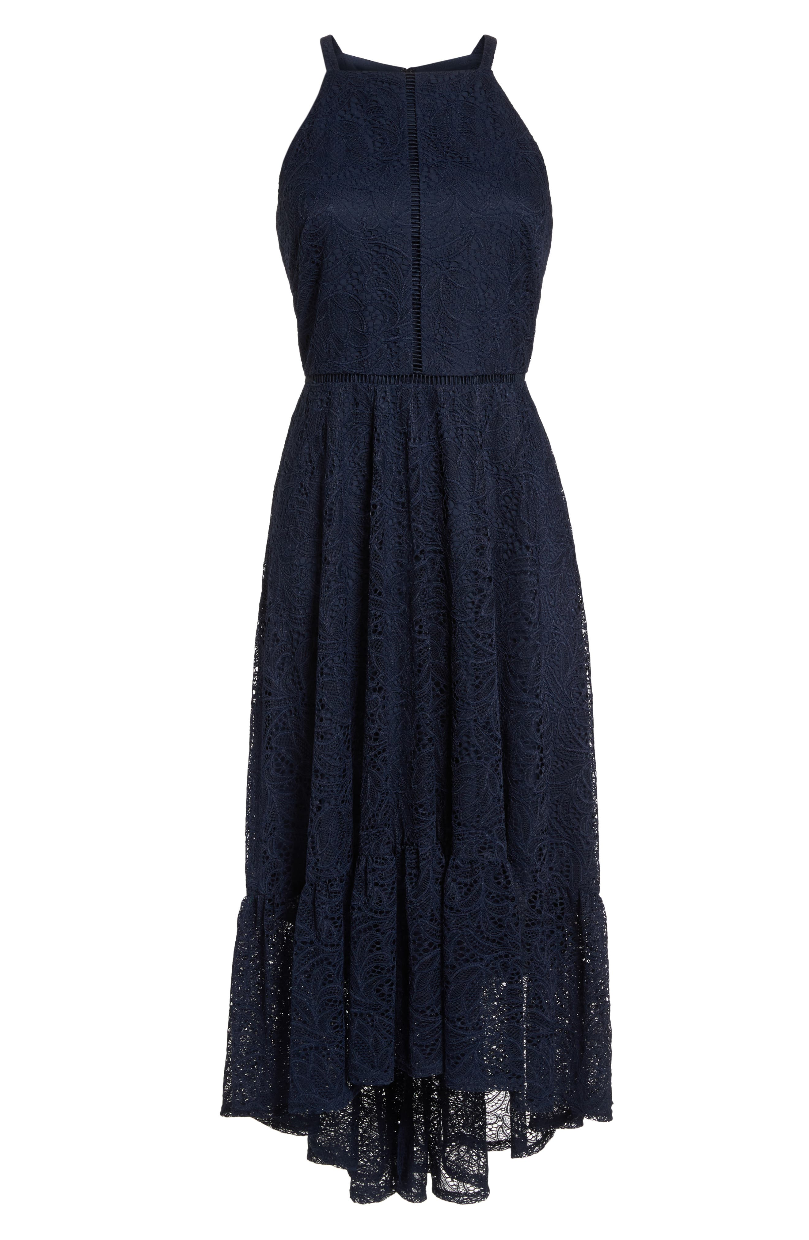 Halter Neck Lace Midi Dress,                             Alternate thumbnail 7, color,                             NAVY