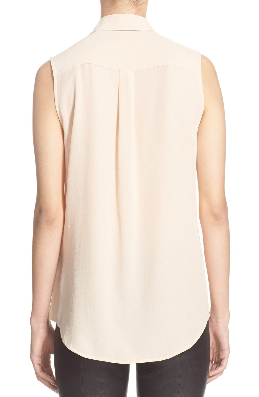 'Slim Signature' Sleeveless Silk Shirt,                             Alternate thumbnail 59, color,