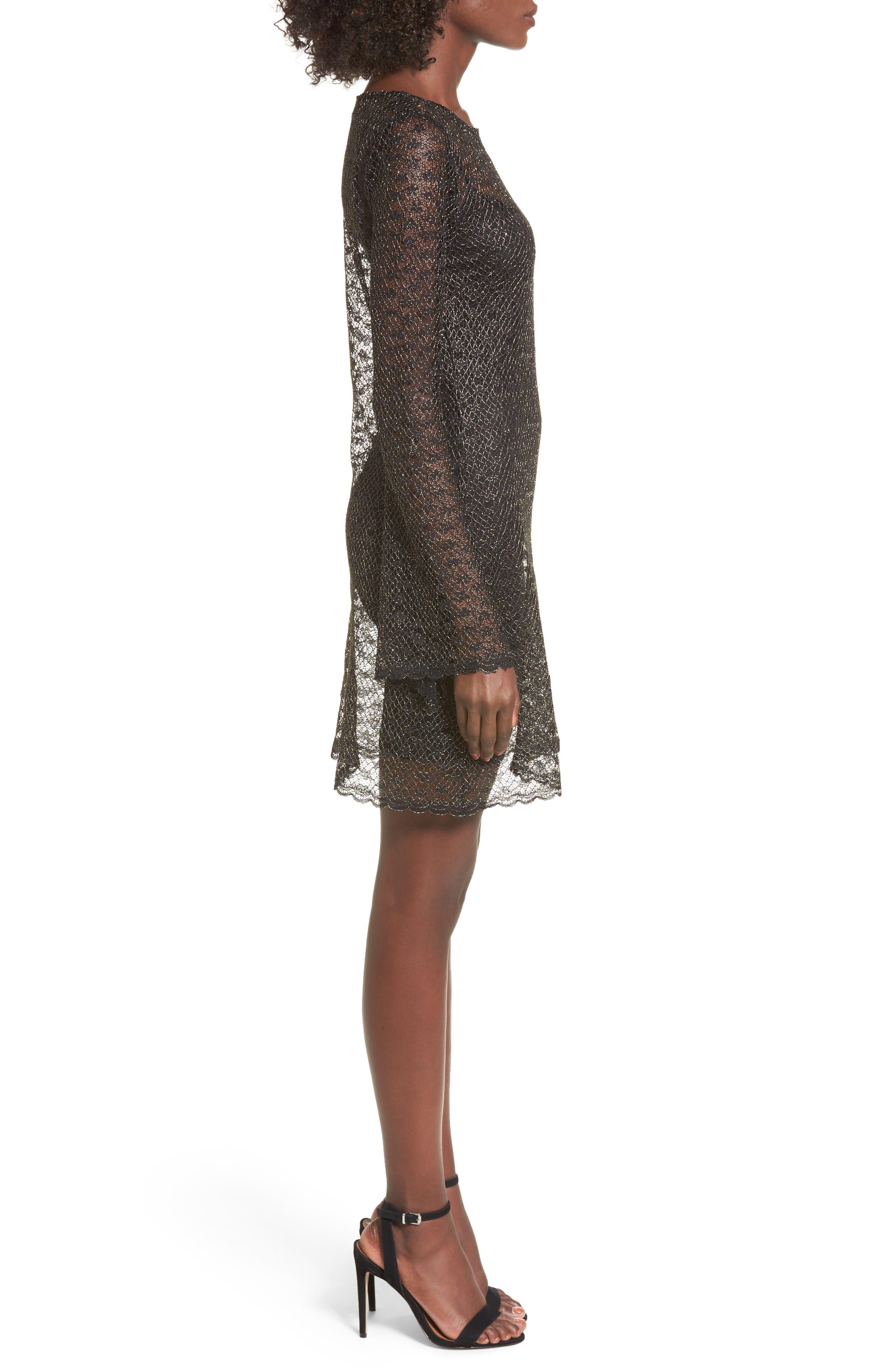 Paisley Sheer Mesh Dress,                             Alternate thumbnail 3, color,                             005