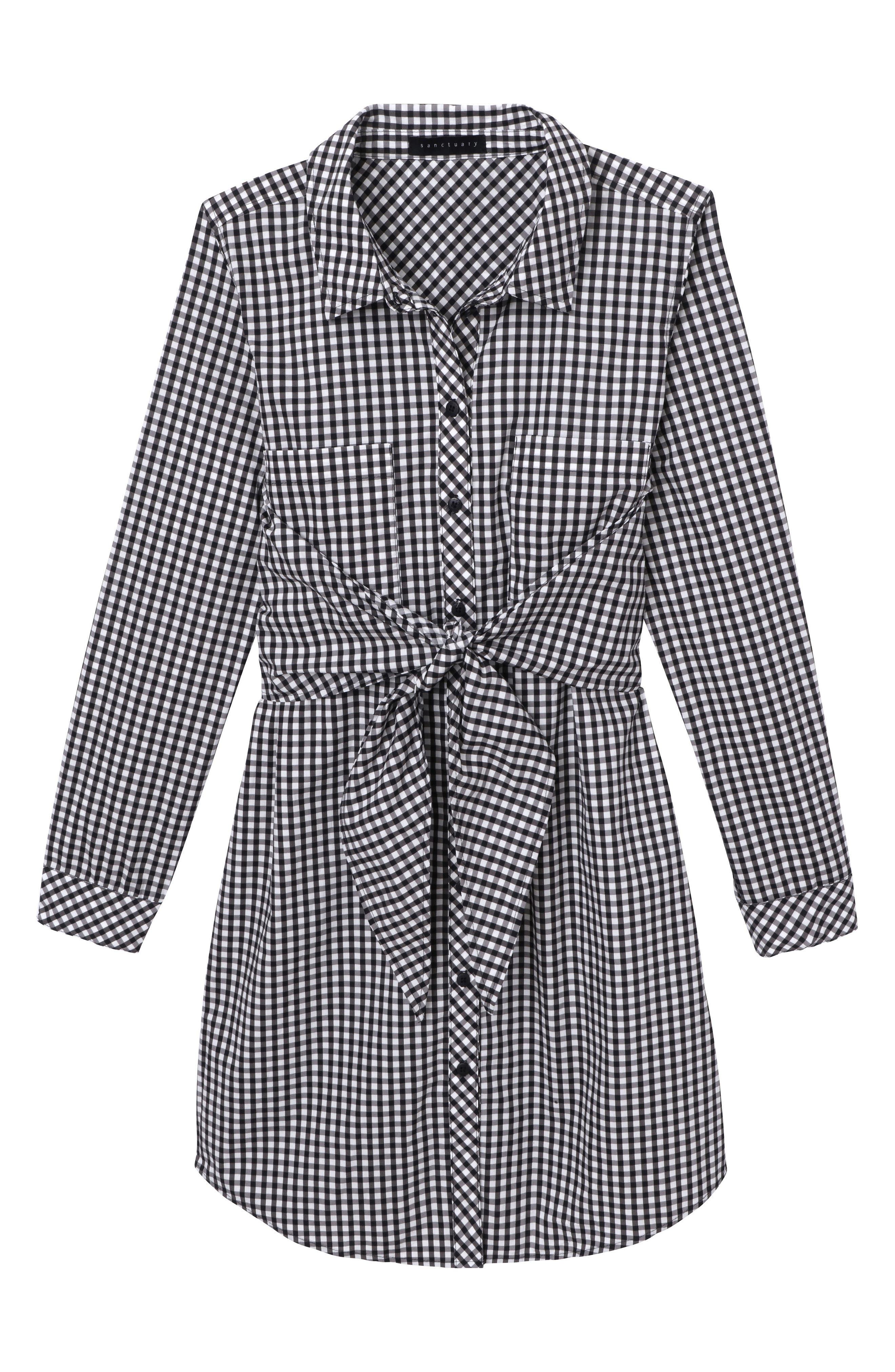 Tie Front Gingham Shirtdress,                             Alternate thumbnail 7, color,                             011