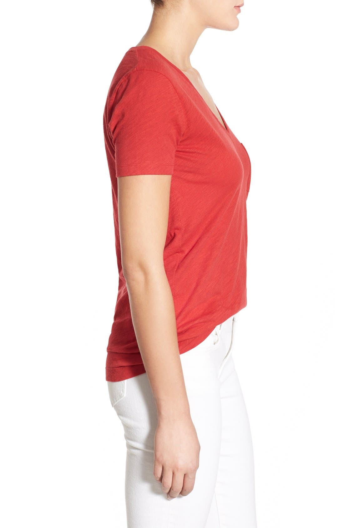 Whisper Cotton V-Neck Pocket Tee,                             Alternate thumbnail 117, color,