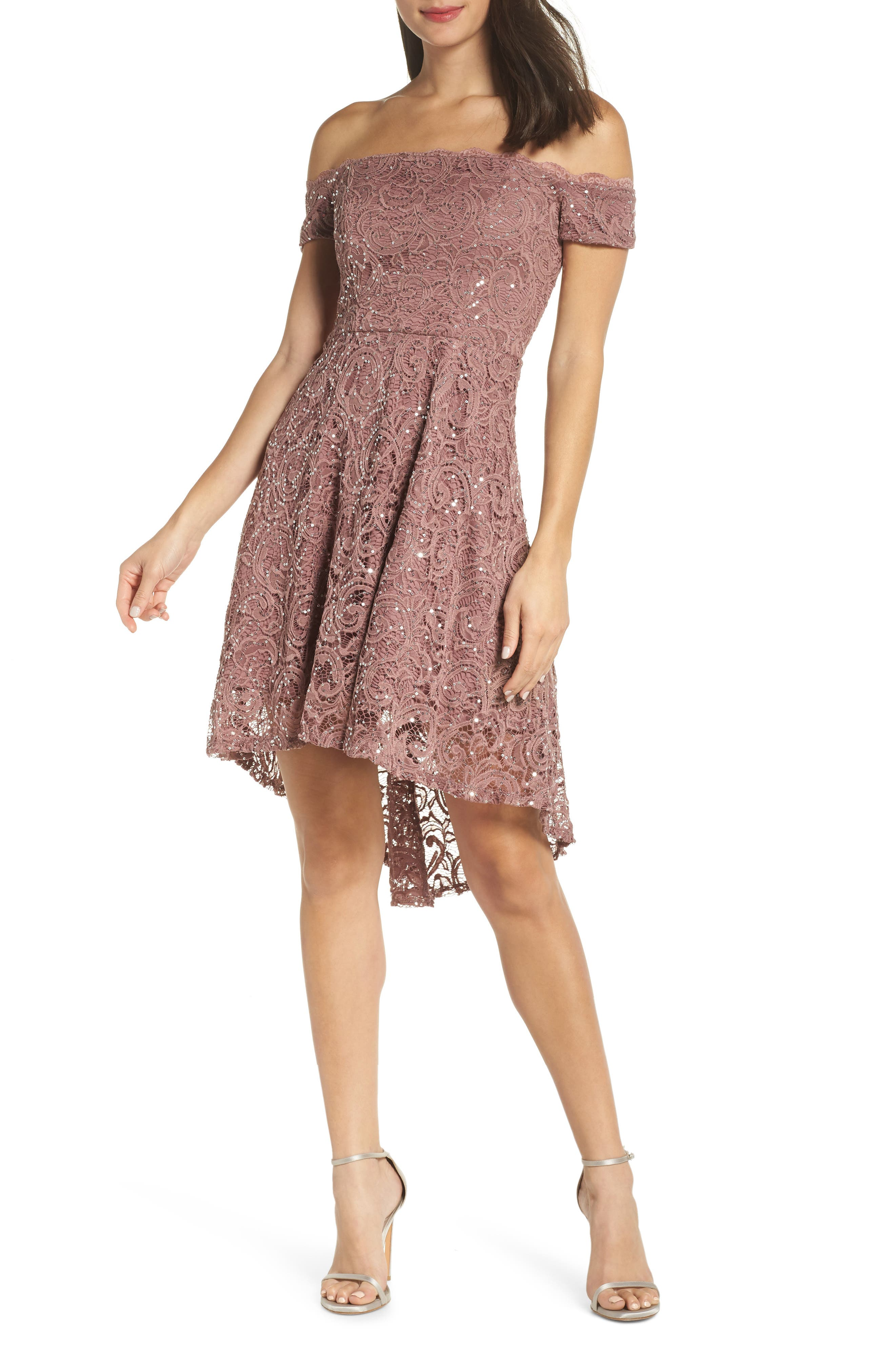 SEQUIN HEARTS,                             Off the Shoulder Sequin Lace Cocktail Dress,                             Main thumbnail 1, color,                             TAUPE/ SILVER