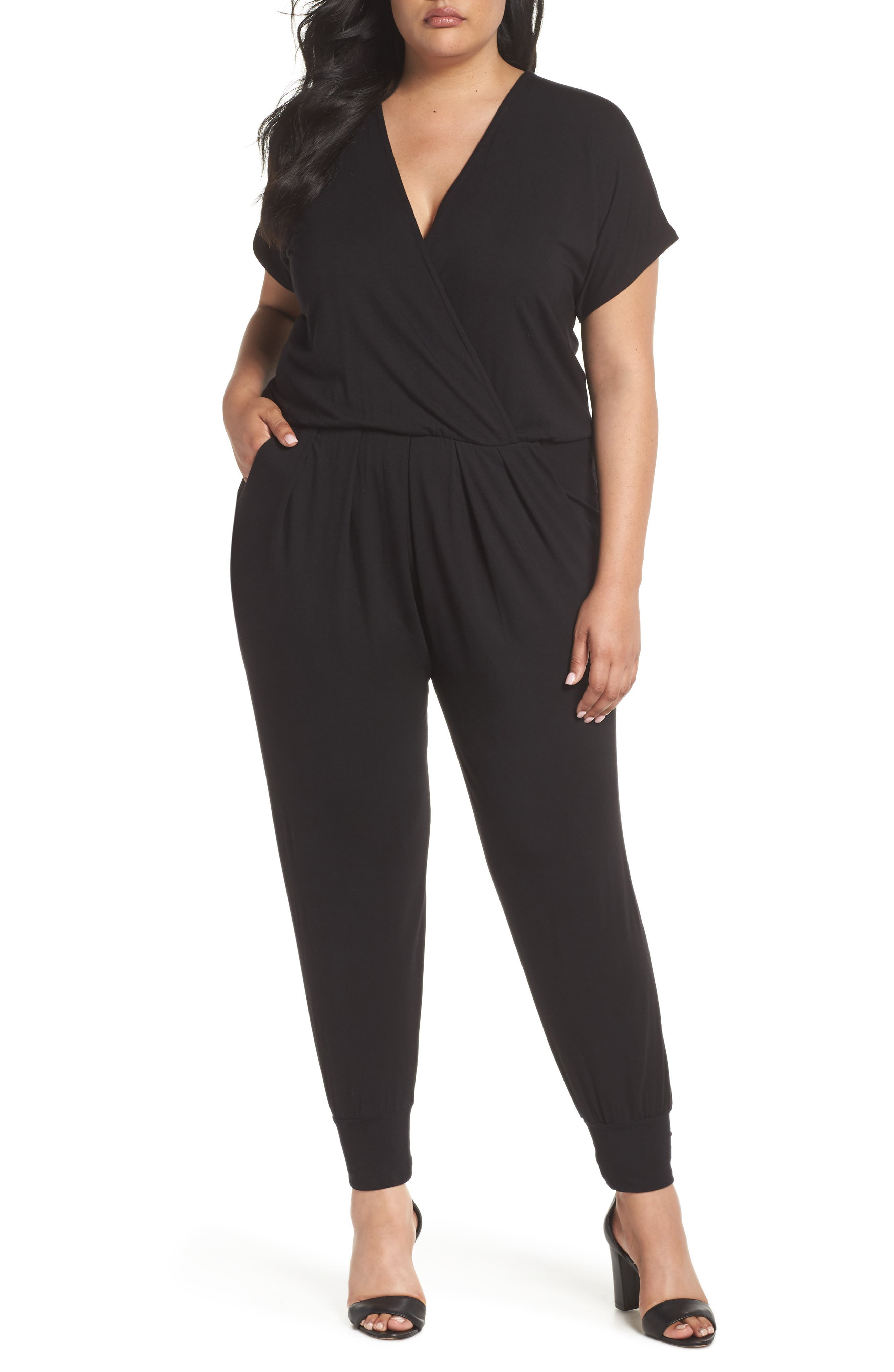 Short Sleeve Wrap Top Jumpsuit,                             Main thumbnail 1, color,                             BLACK