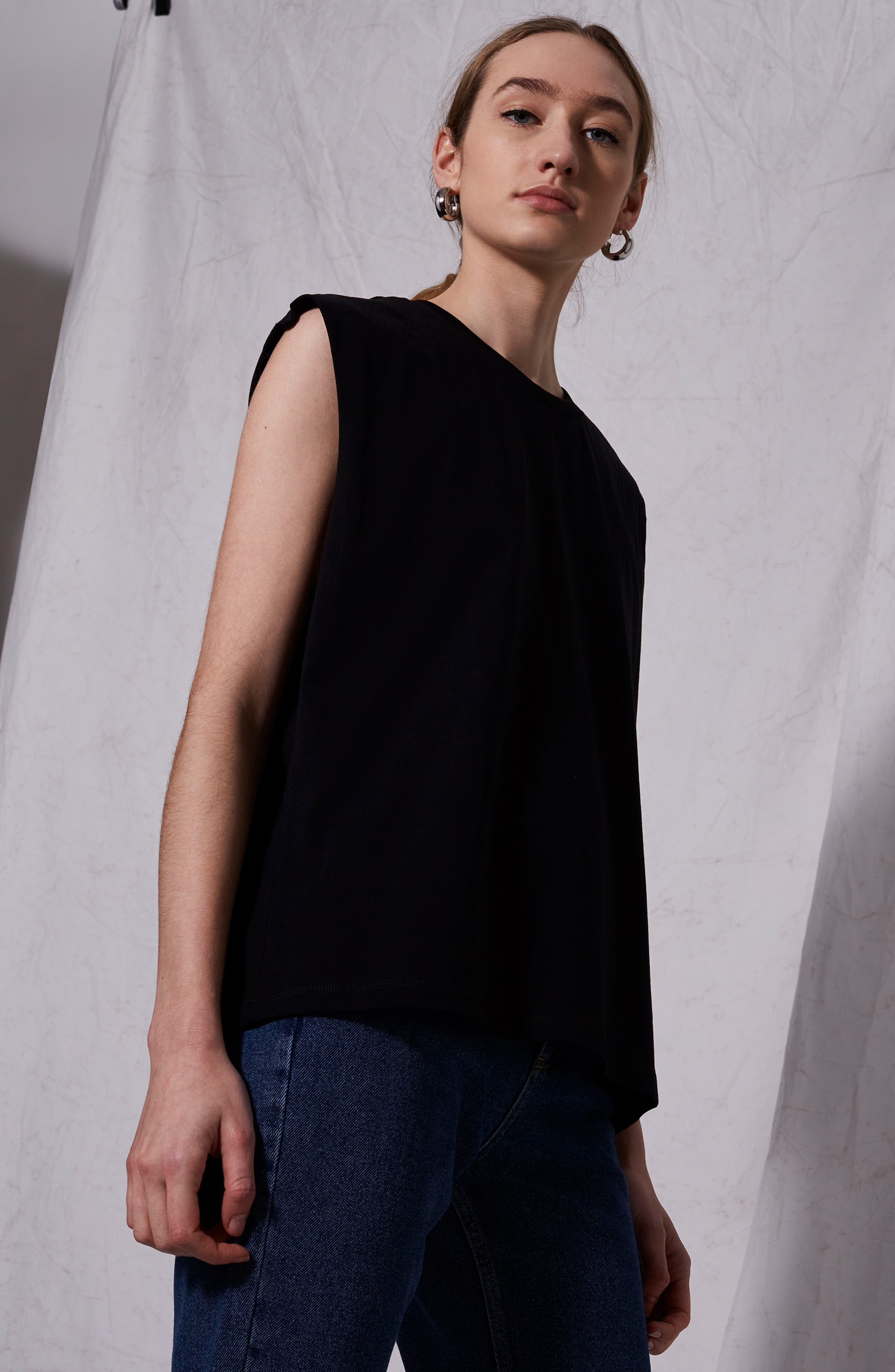 Raw Sleeve Top,                             Alternate thumbnail 6, color,                             001