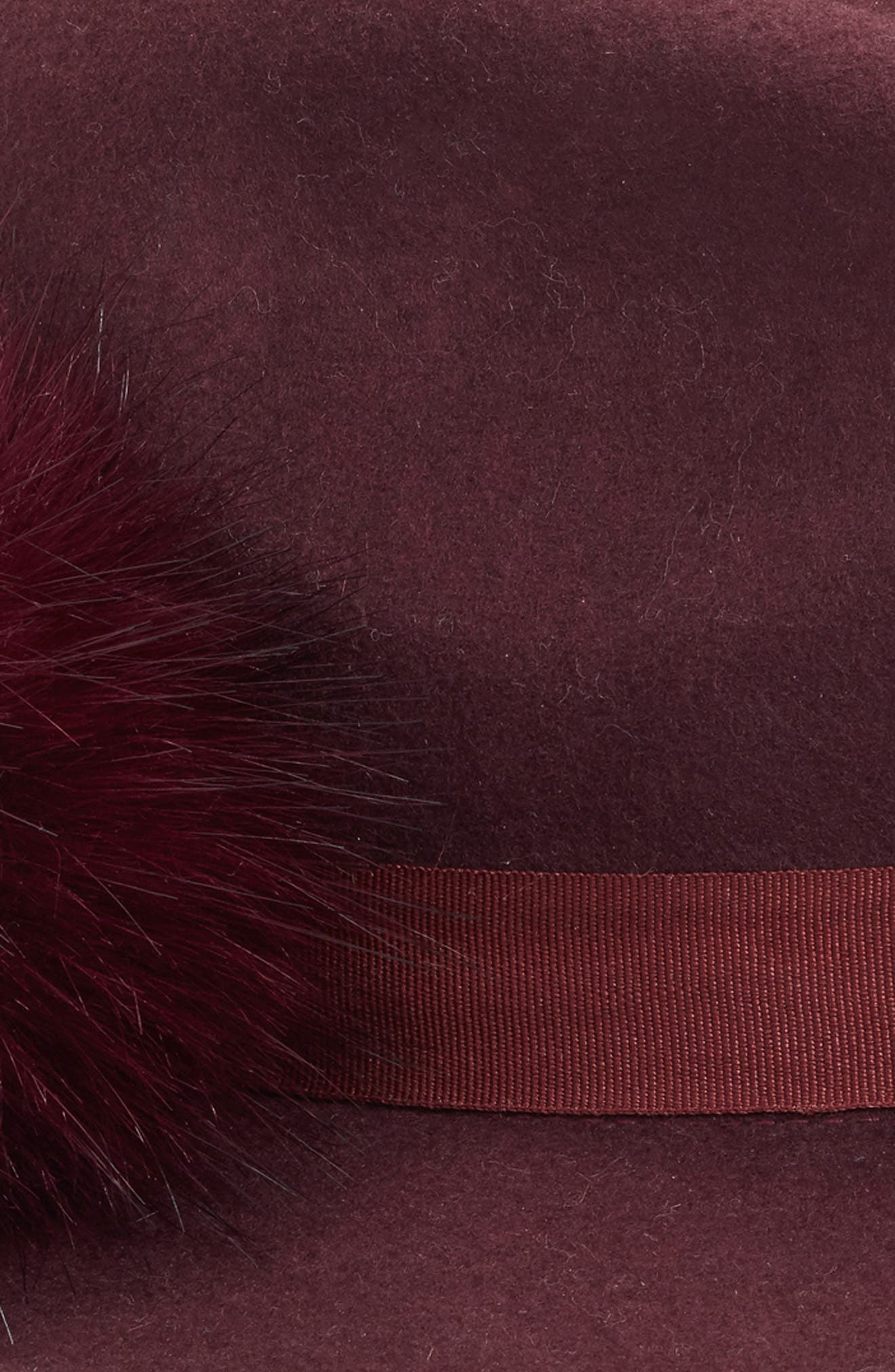 Faux Fur Pompom Fedora,                             Alternate thumbnail 2, color,                             BURGUNDY