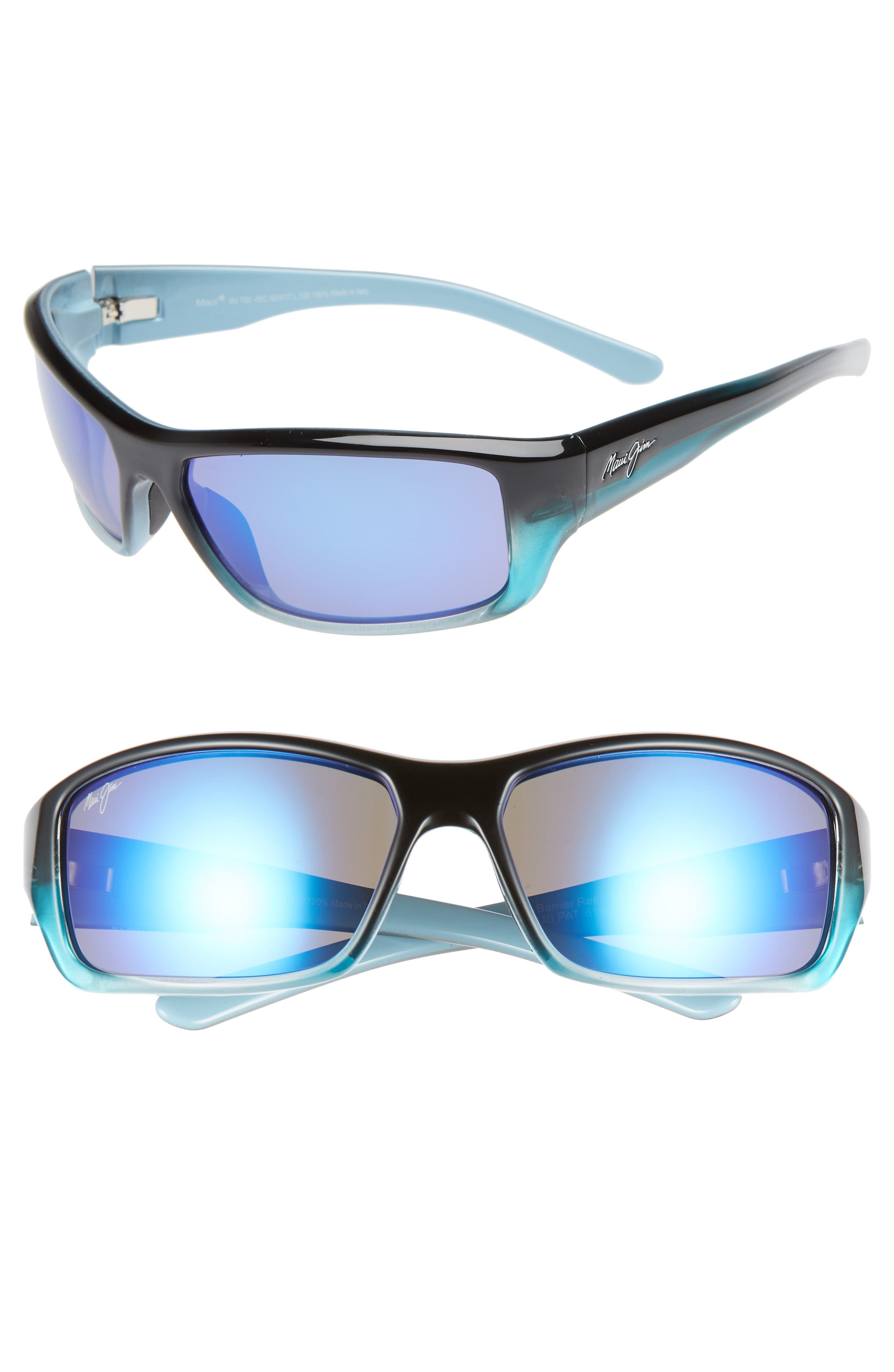 Maui Jim Barrier Reef 62Mm Polarizedplus2 Sunglasses - Blue Turquoise/ Blue