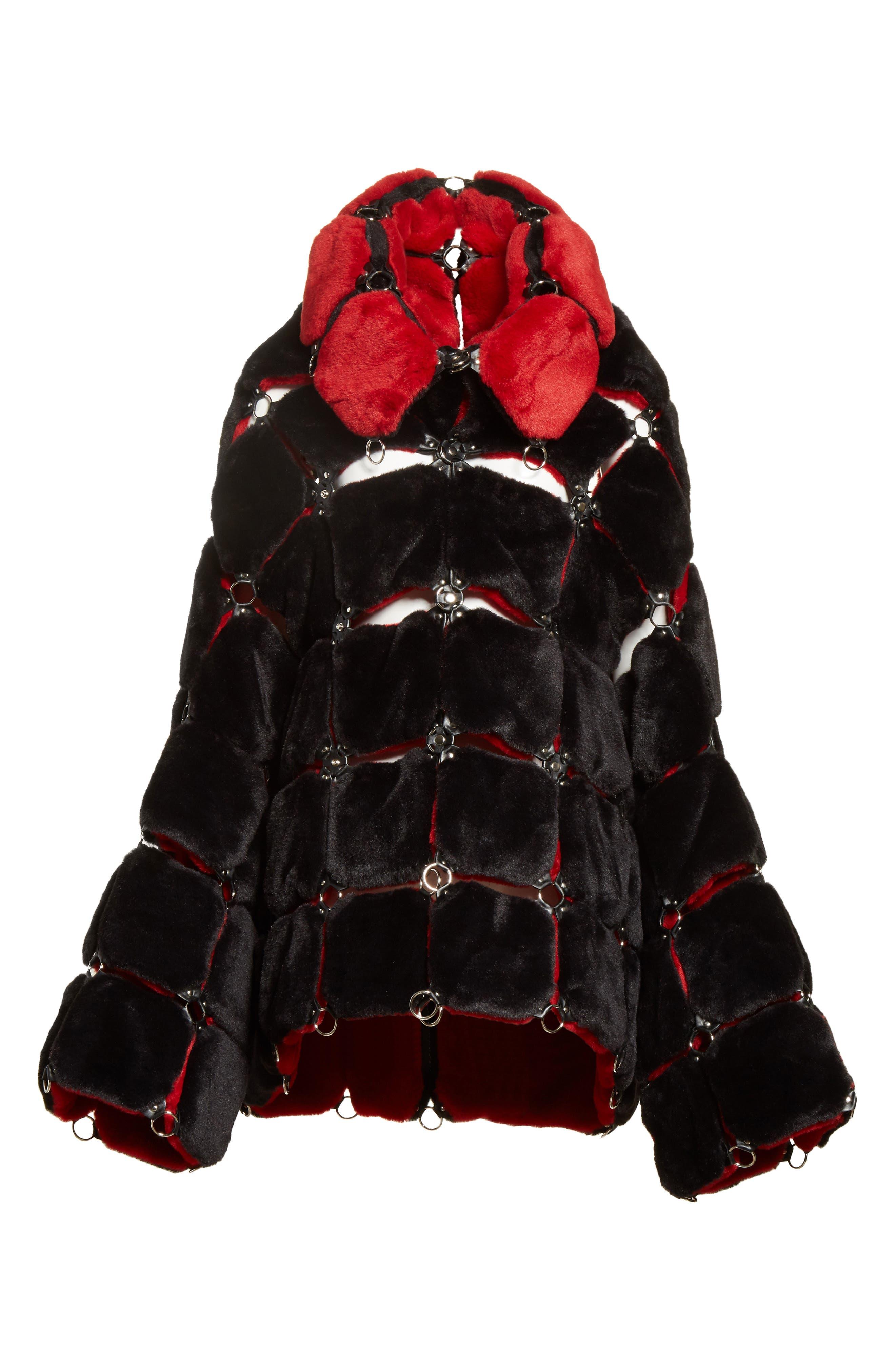 Faux Fur Coat with Chain Mail Detail,                             Alternate thumbnail 5, color,                             005