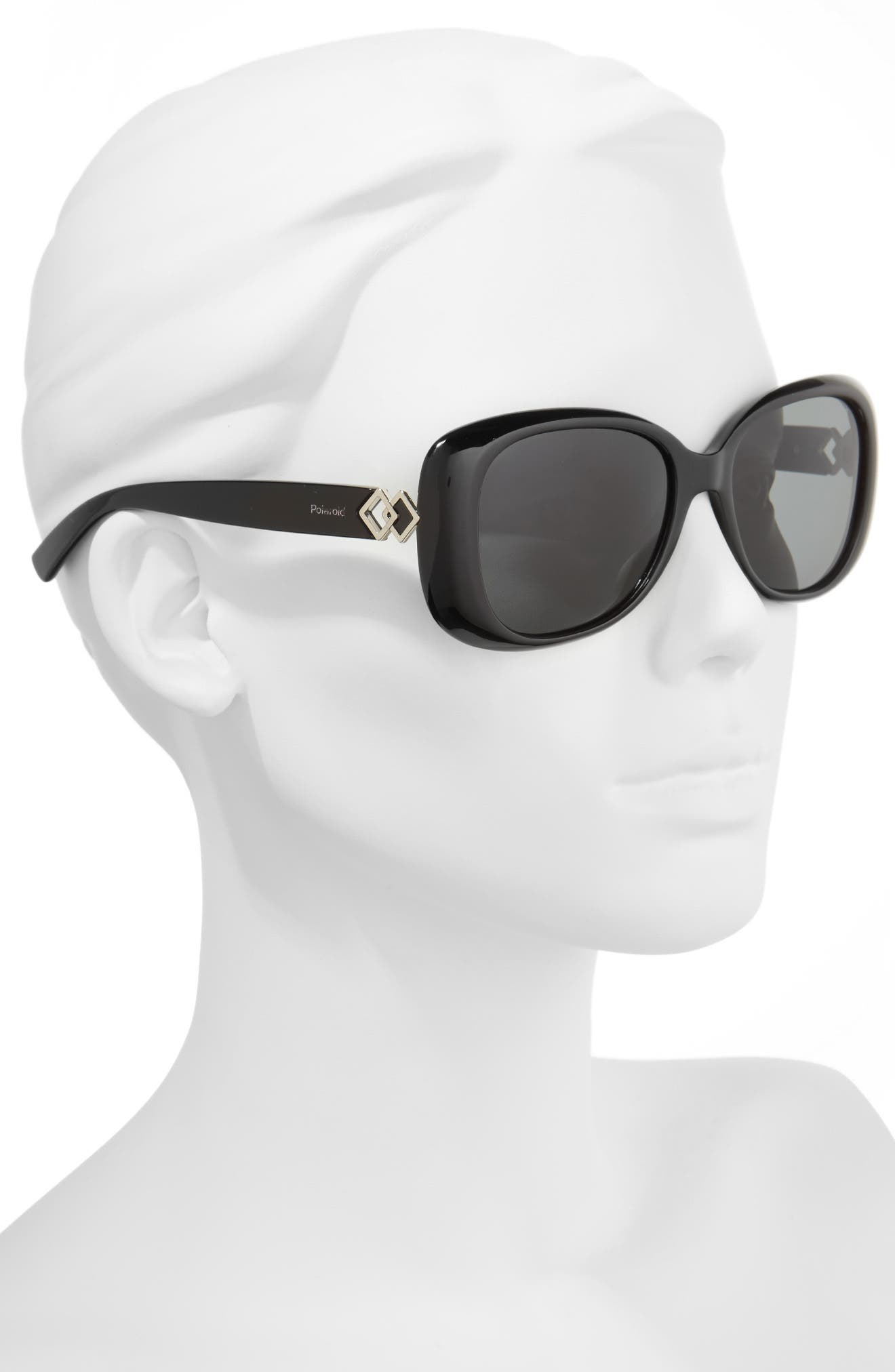55mm Polarized Butterfly Sunglasses,                             Alternate thumbnail 2, color,                             001