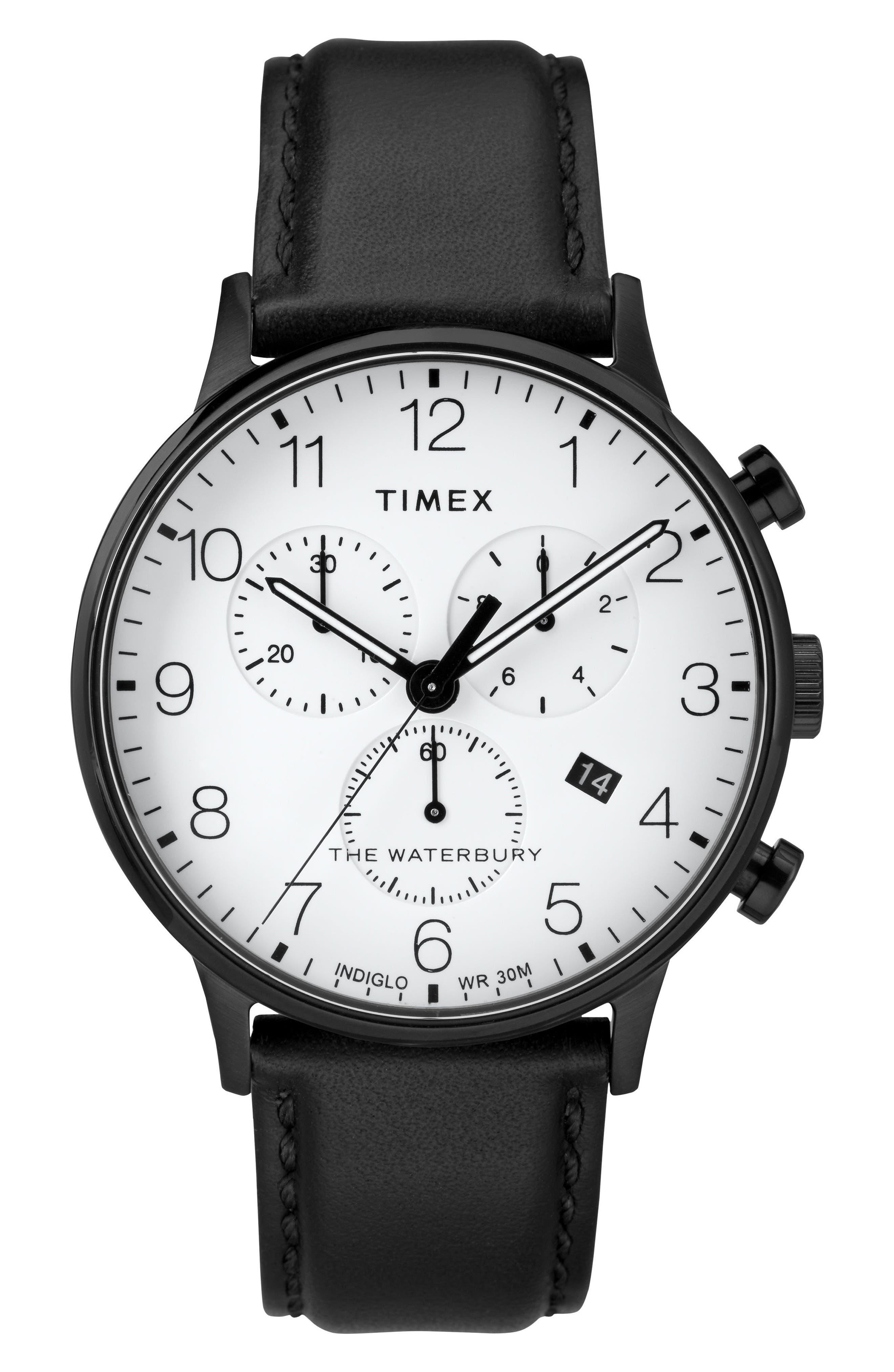 Timex Waterbury Chronograph Leather Strap Watch, 40mm,                             Main thumbnail 1, color,                             BLACK/ WHITE/ BLACK