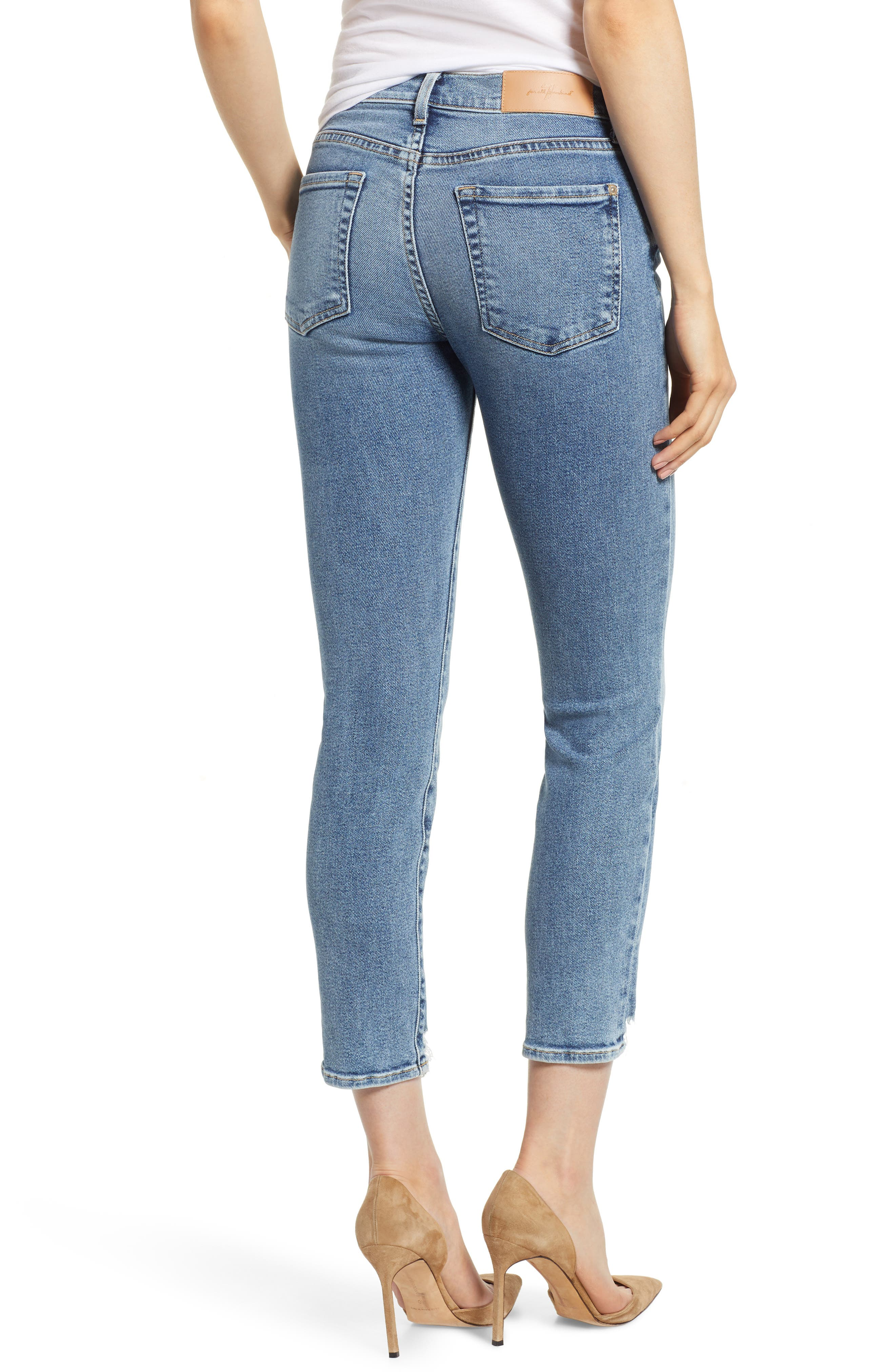 Luxe Vintage Roxanne Rip Hem Ankle Slim Jeans,                             Alternate thumbnail 2, color,                             401