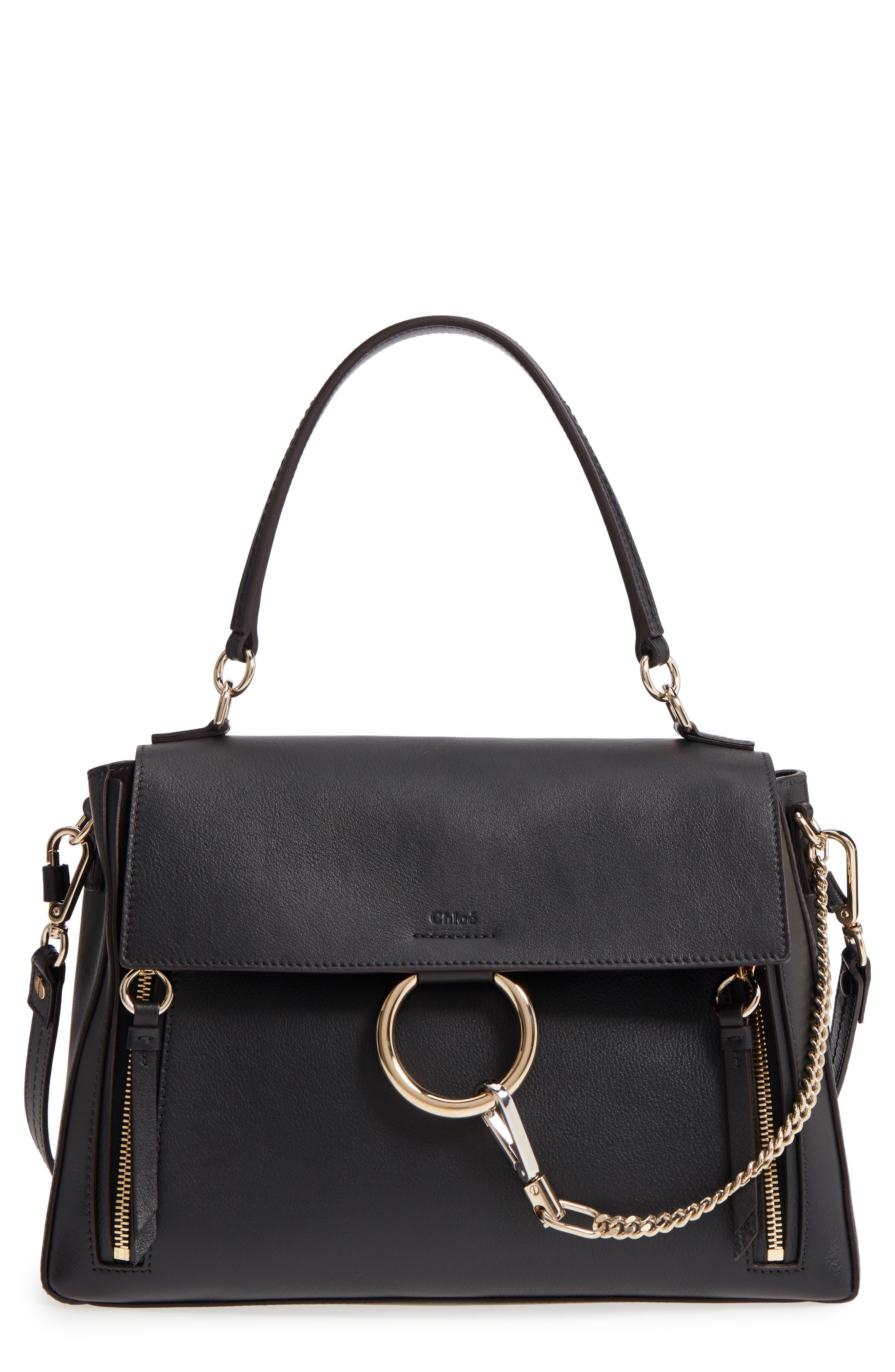 Medium Faye Leather Shoulder Bag,                         Main,                         color, BLACK