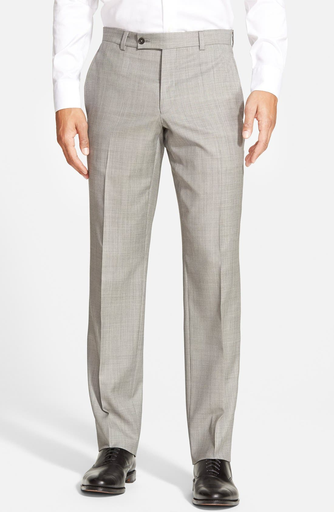 Jefferson Flat Front Wool Trousers,                             Main thumbnail 2, color,