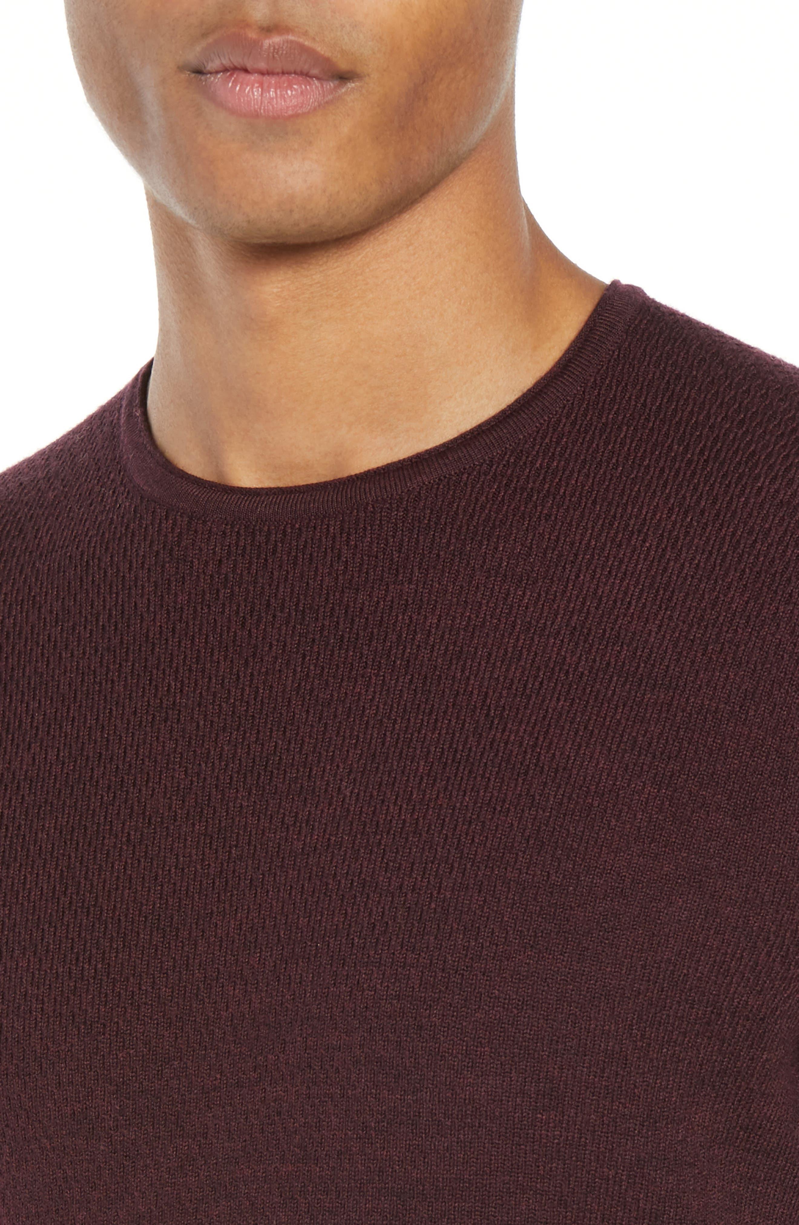 Gregory Merino Wool Blend Crewneck Sweater,                             Alternate thumbnail 4, color,                             BURGUNDY