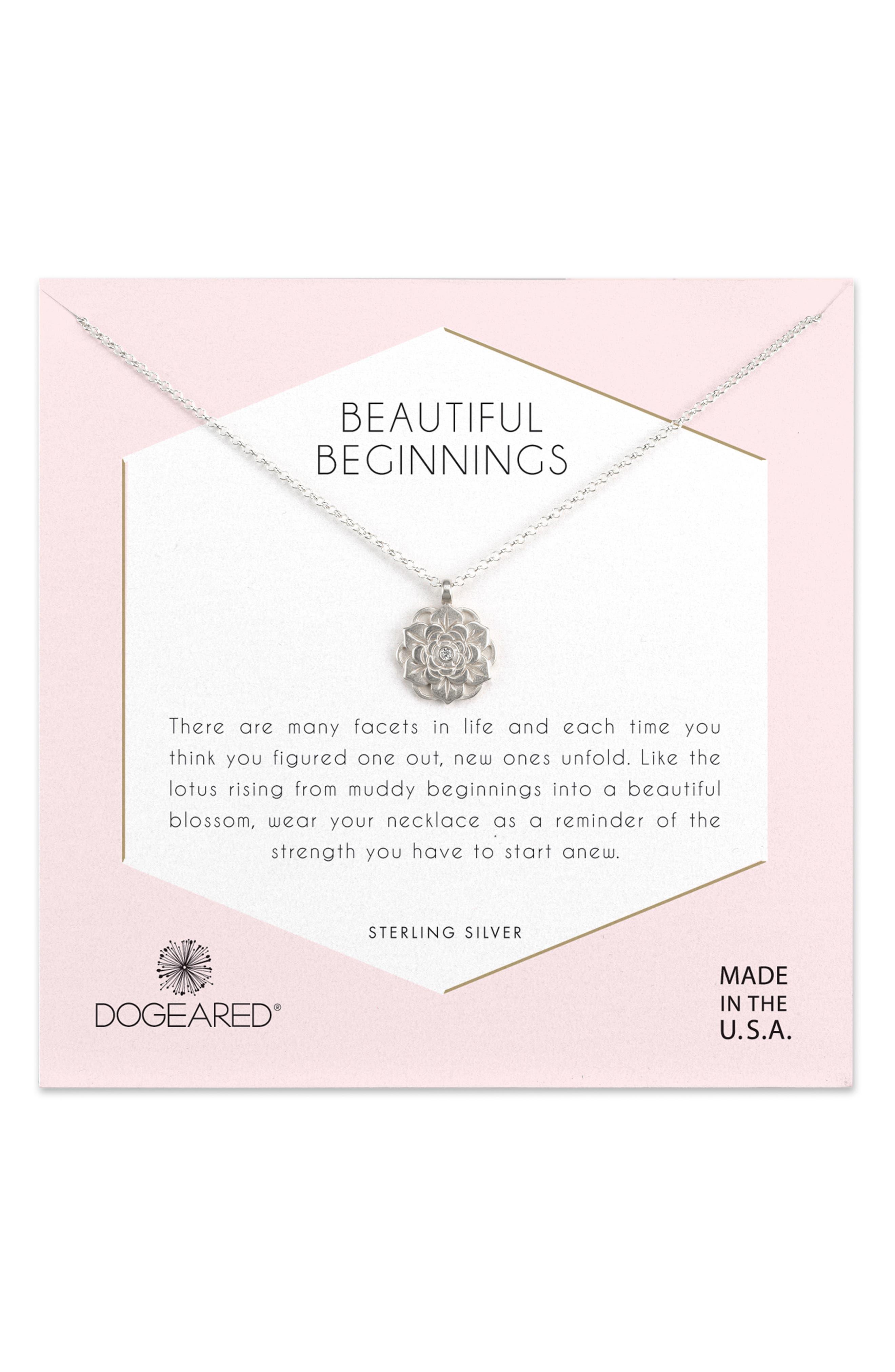 Beautiful Beginnings Lotus Pendant Necklace,                         Main,                         color, 040