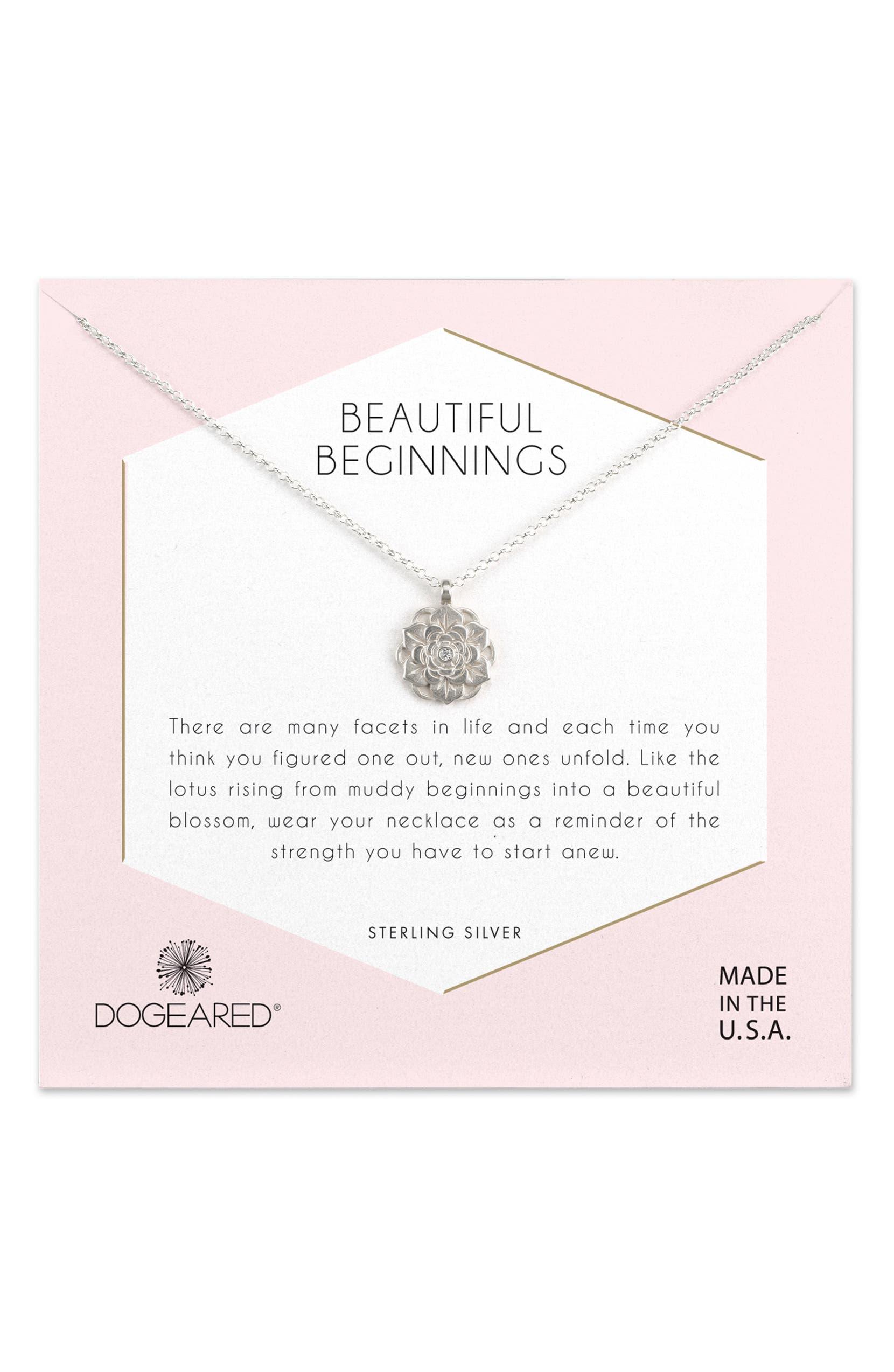 Dogeared Beautiful Beginnings Lotus Pendant Necklace Nordstrom