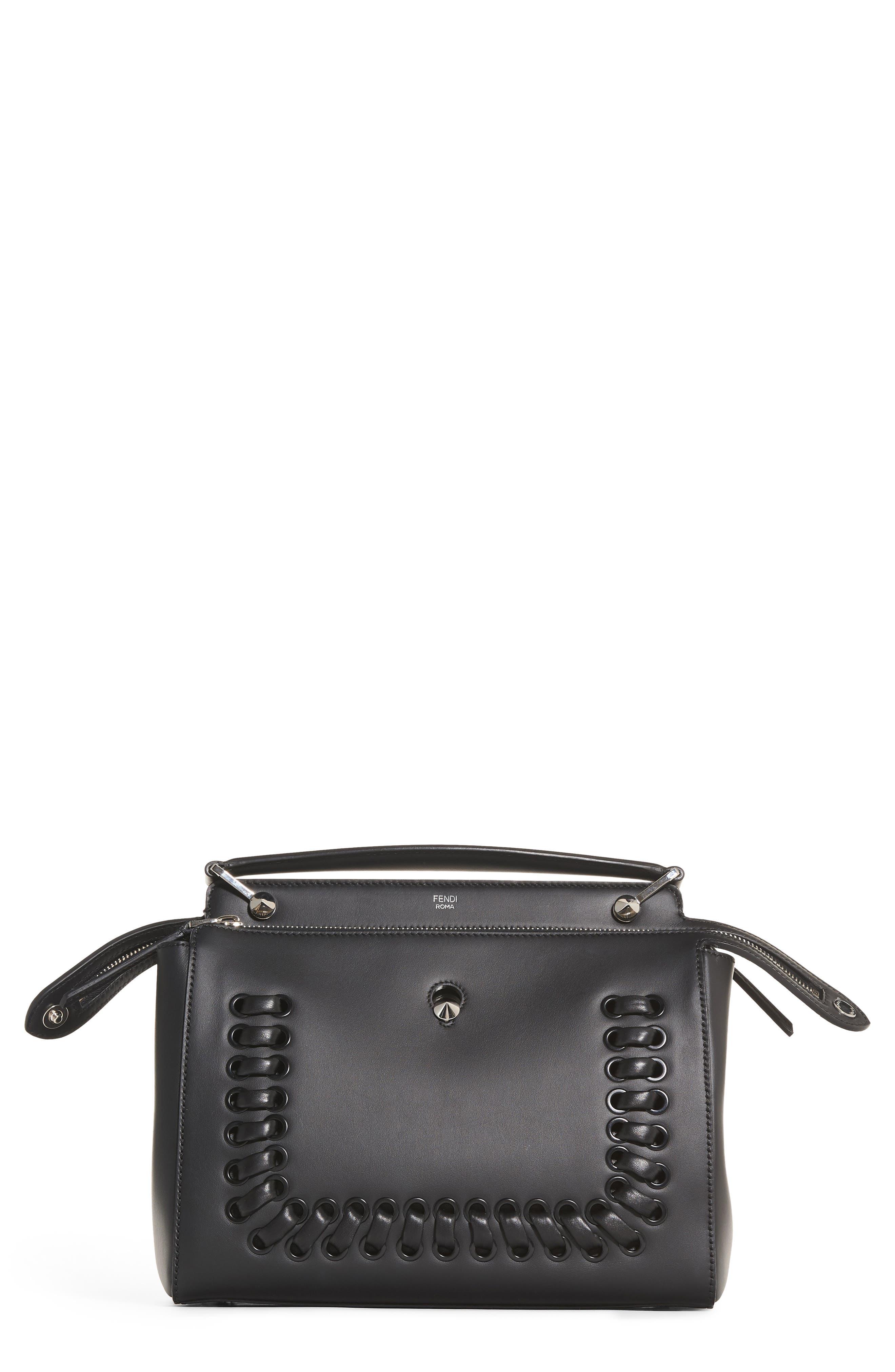 FENDI 'DOTCOM' Lace-Up Leather Satchel, Main, color, 004
